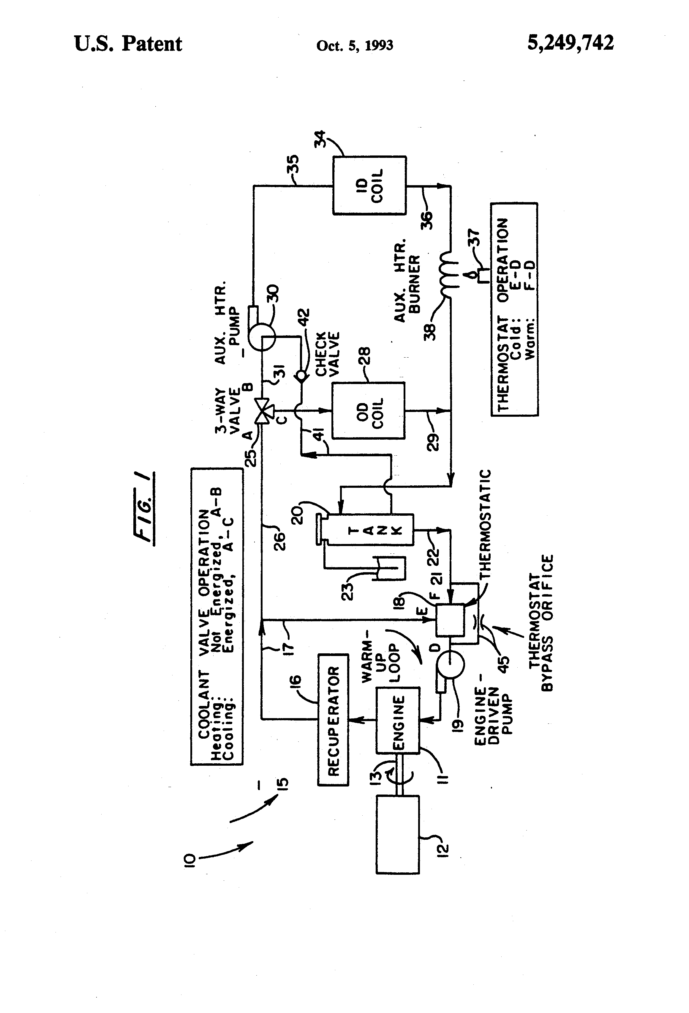 Us5249742 Coolant Circulation System For Engine Diagram Heat Pump Patent Drawing