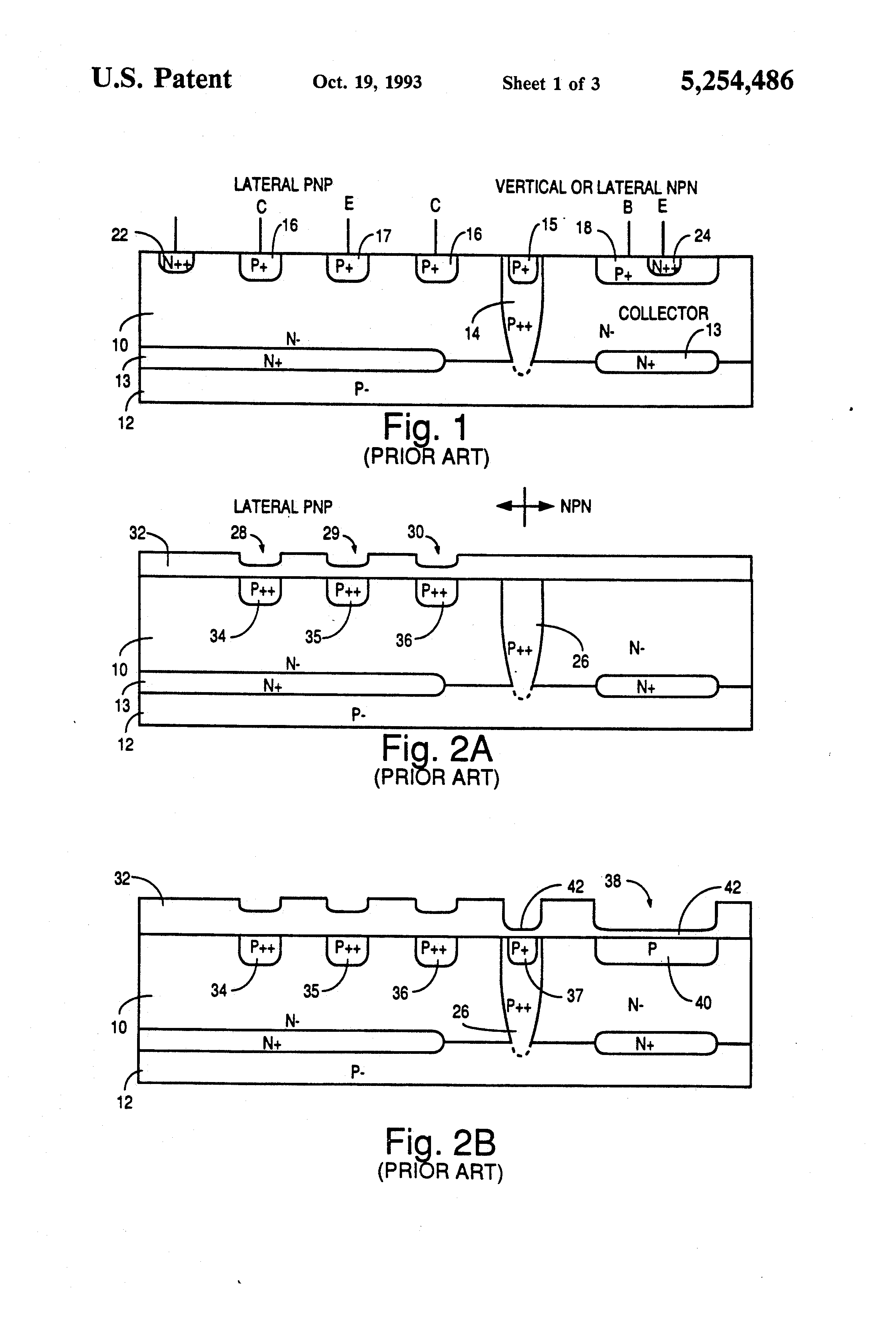 Patent Us5254486 Method For Forming Pnp And Npn Bipolar Transistor Diagram Drawing