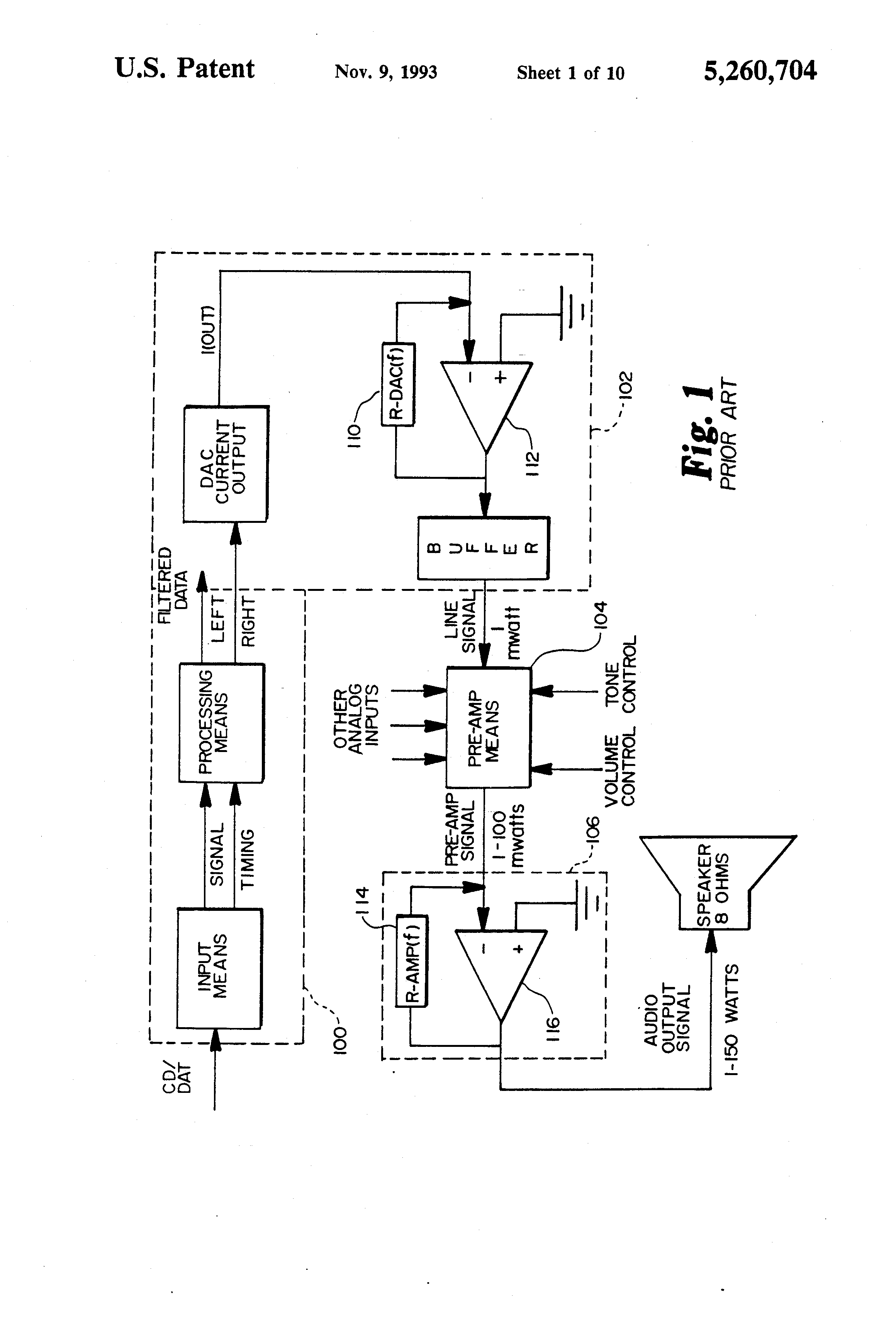 Brevet Us5260704 Direct Power Output Digital To Analog Conversion Lm380 Datasheet Audio Amplifier Patent Drawing