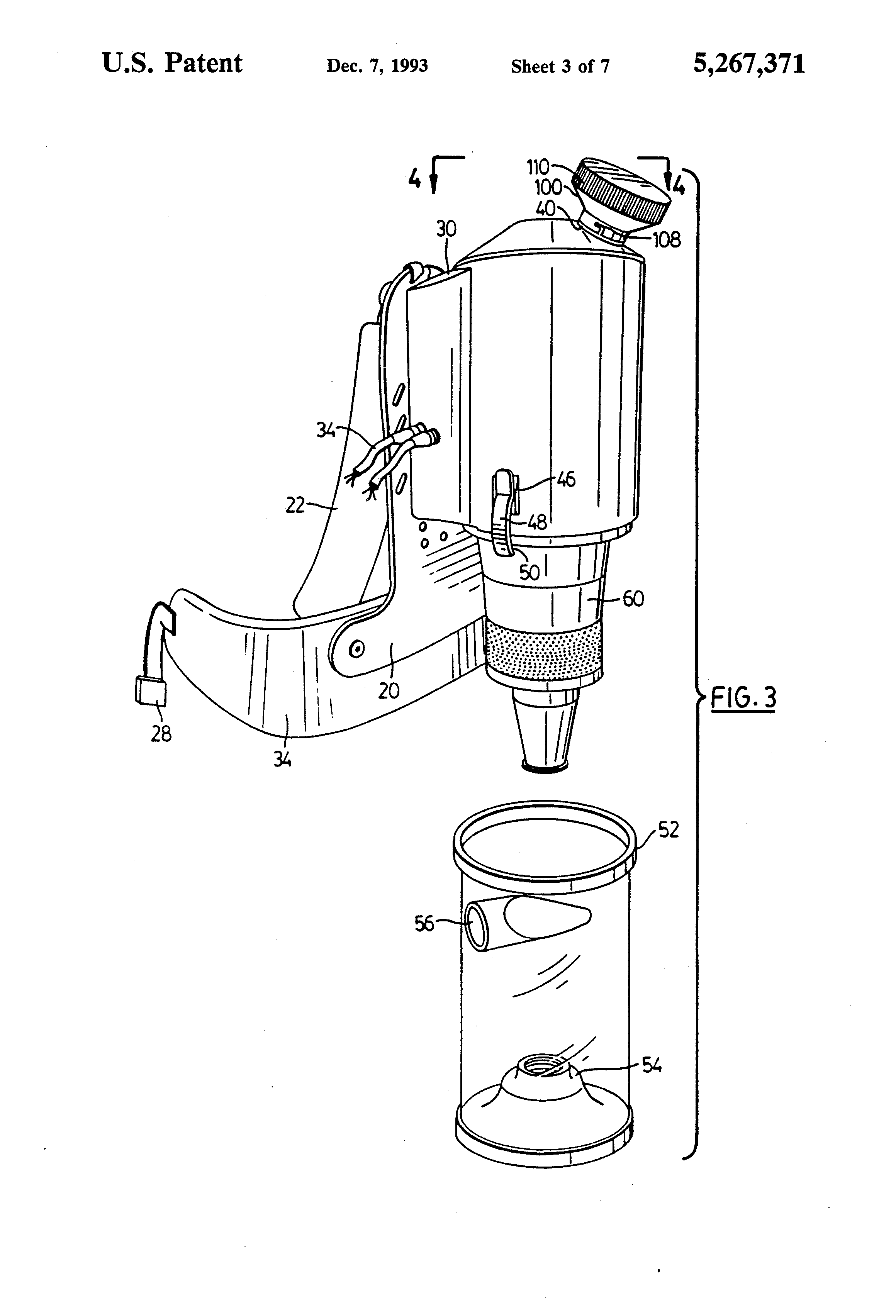 Patent Us5267371 Cyclonic Back Pack Vacuum Cleaner