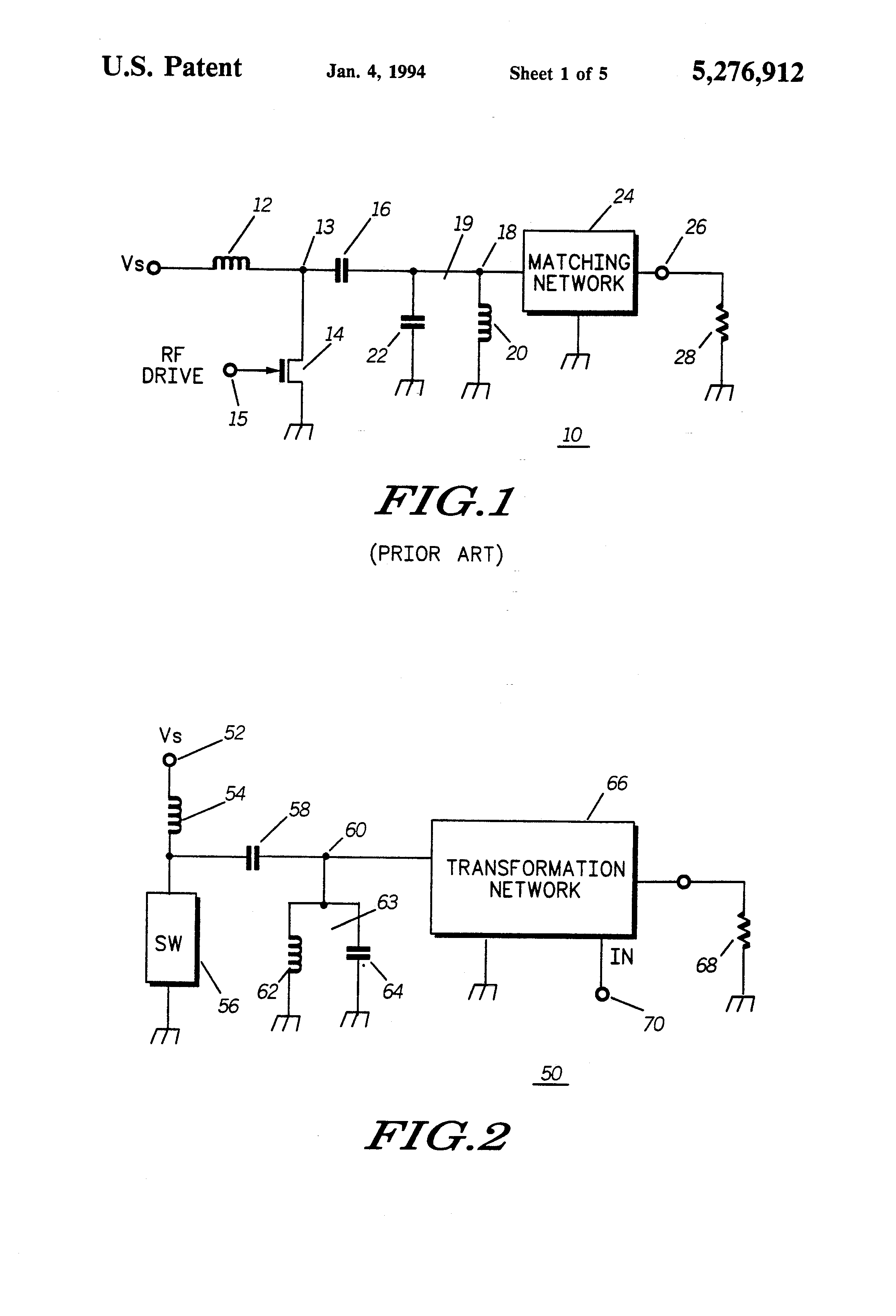 Patent Us5276912 Radio Frequency Power Amplifier Having Variable Drawing