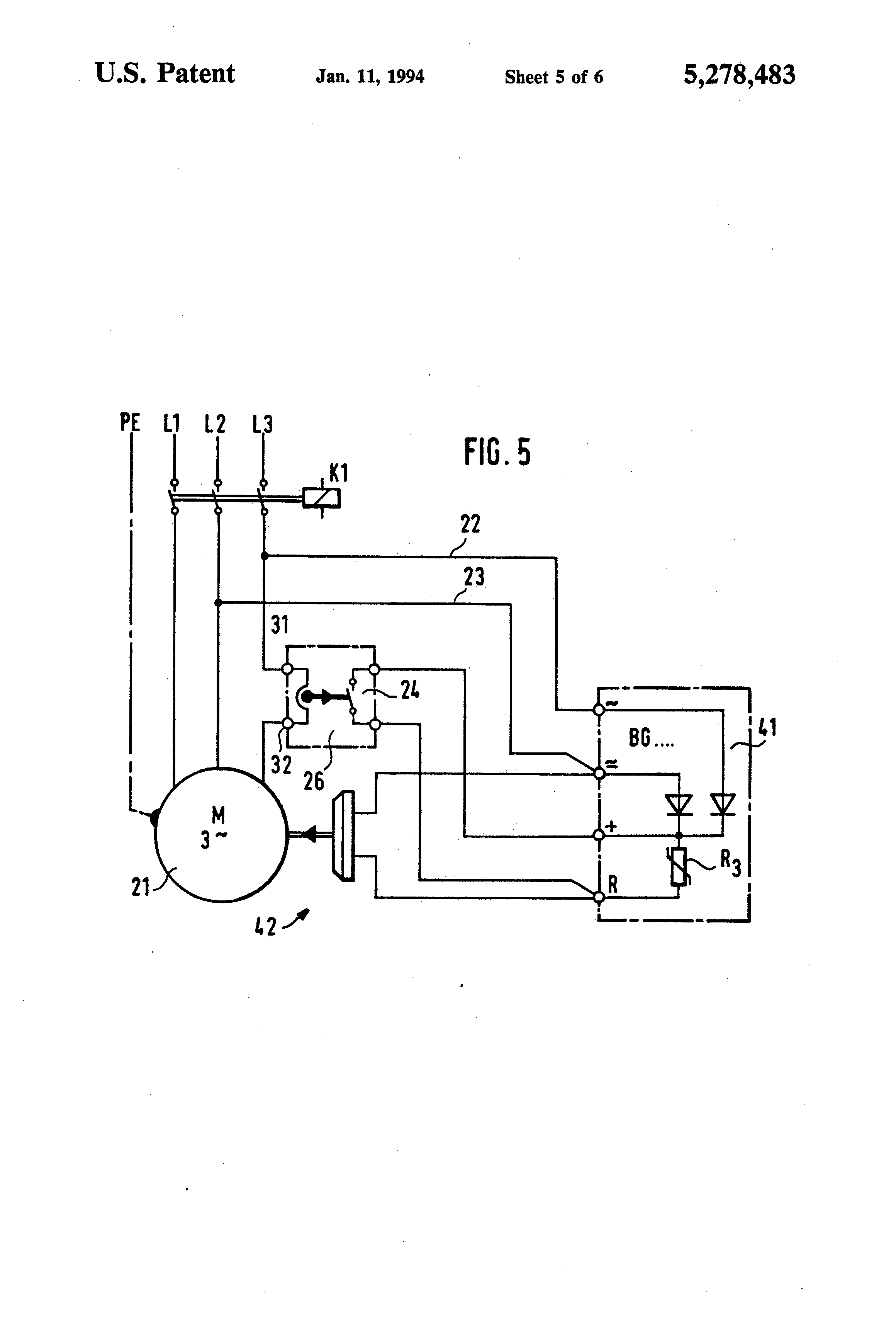 Patent Us5278483 Motor Brake With Single Free Wheeling