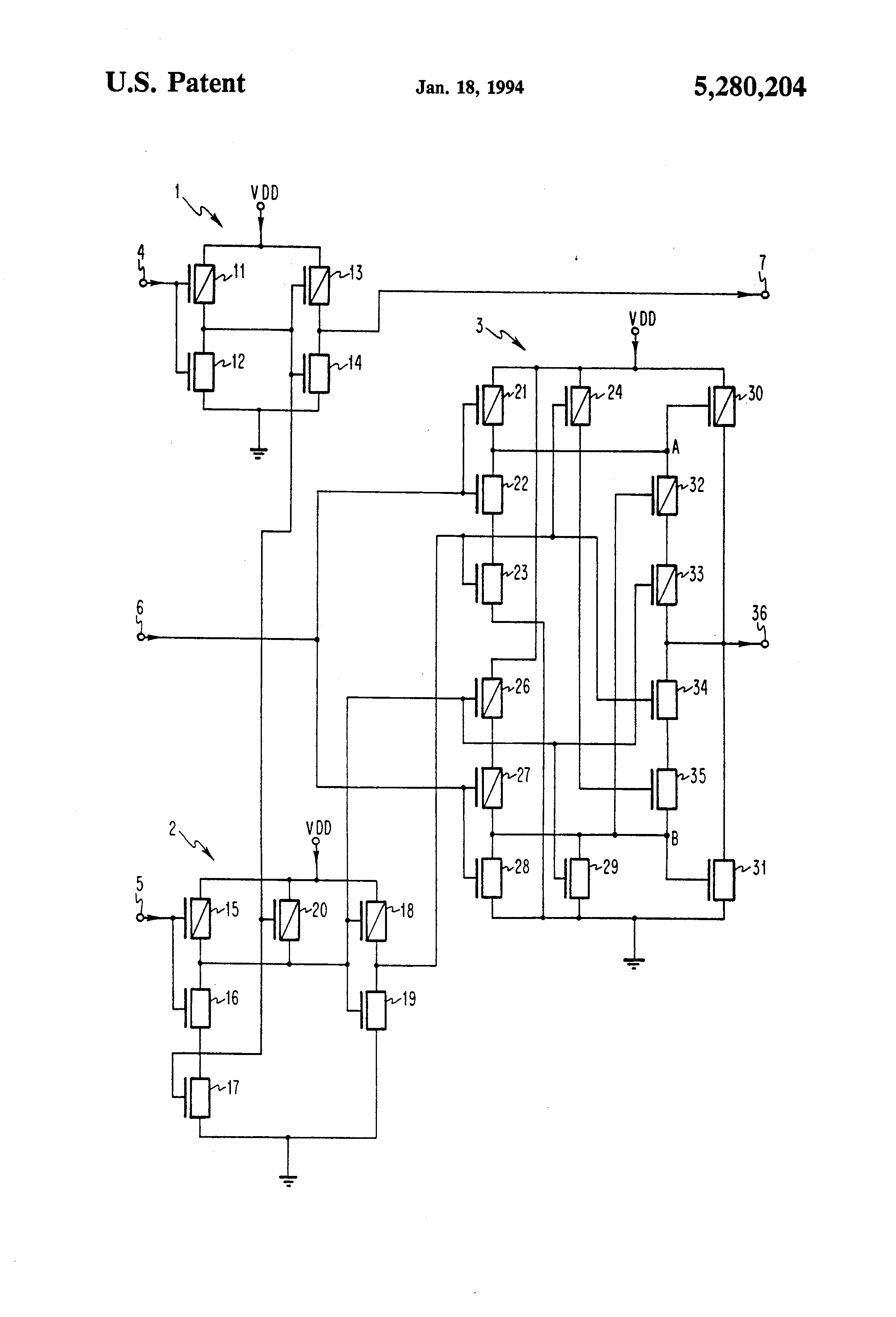 Circuit Diagram Complementary Ttl Inverter Patent Us5280204 Eci Compatible Cmos Off Chip Driver Using Drawing
