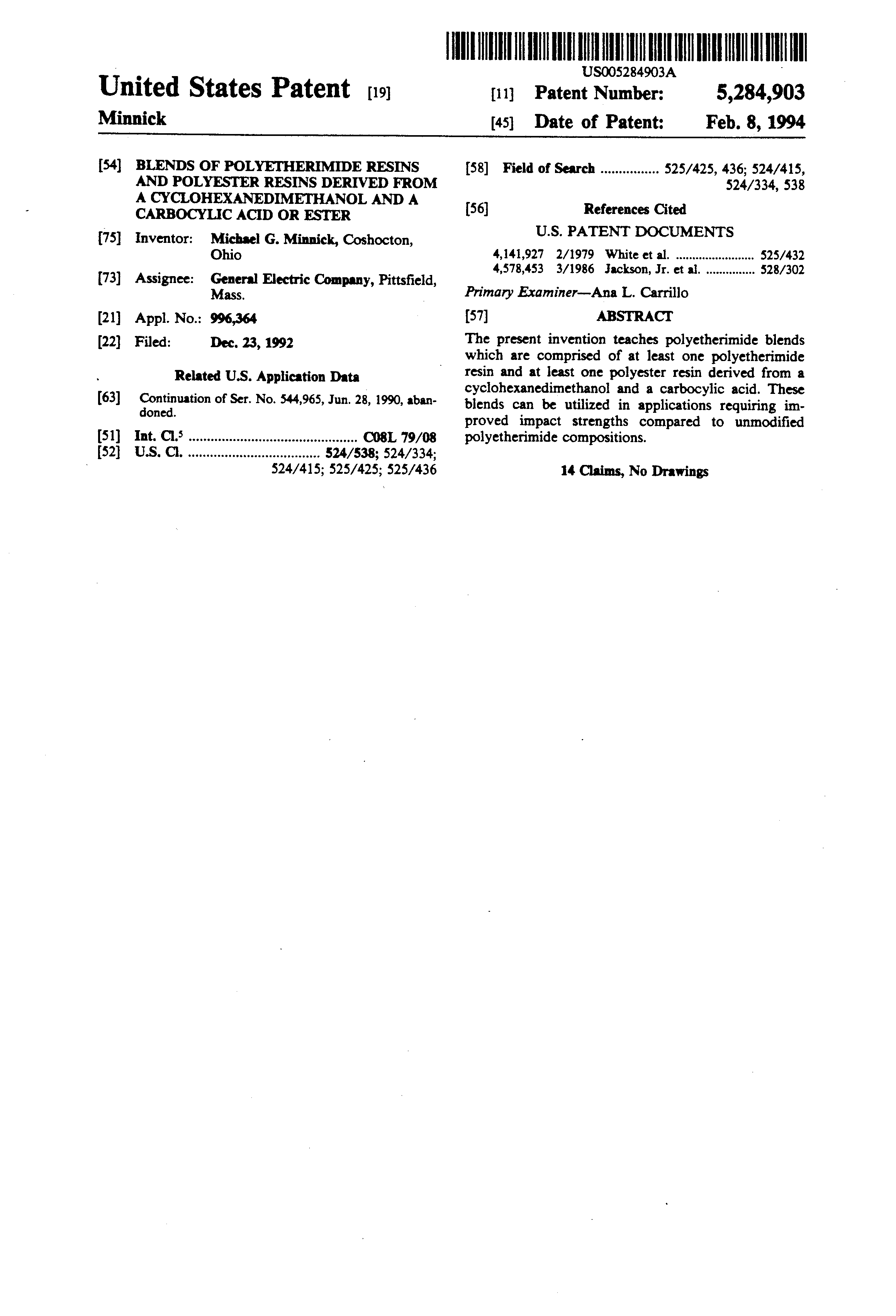 Patent US5284903 - Blends of polyetherimide resins and polyester