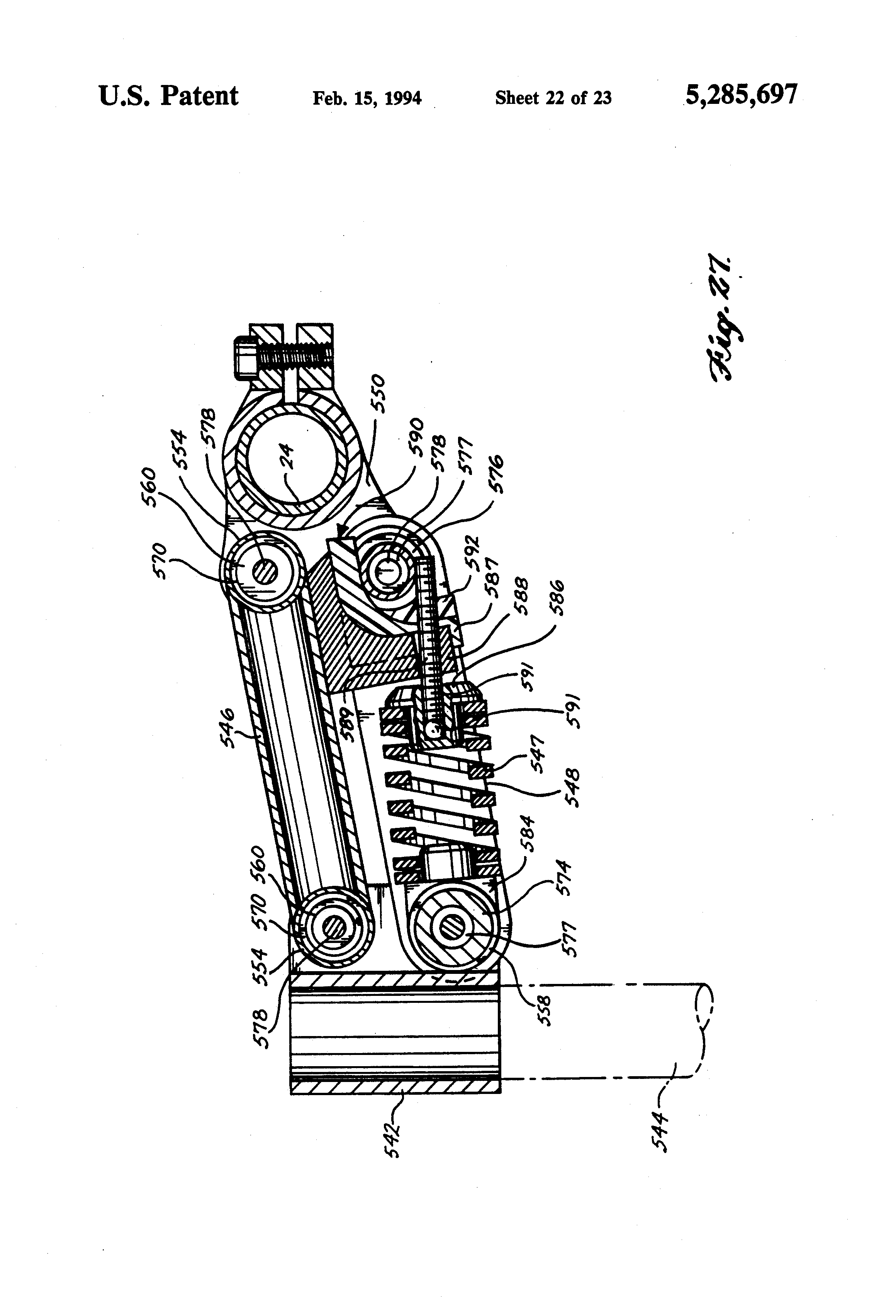 Patent US5285697 - Shock absorbing bicycle handlebar assembly