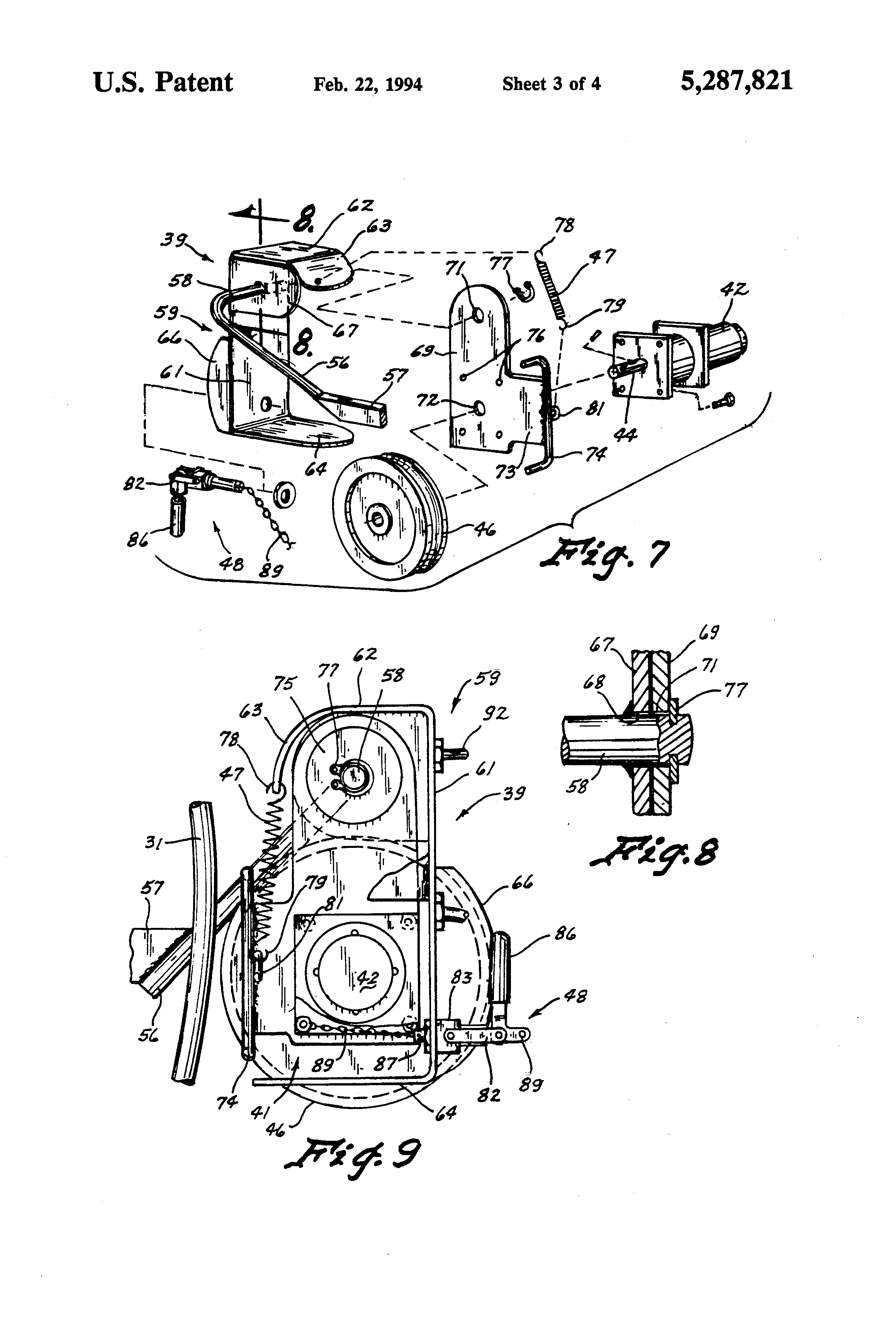 Patent Us5287821 Electric Drive Mechanism For Boat Hoist