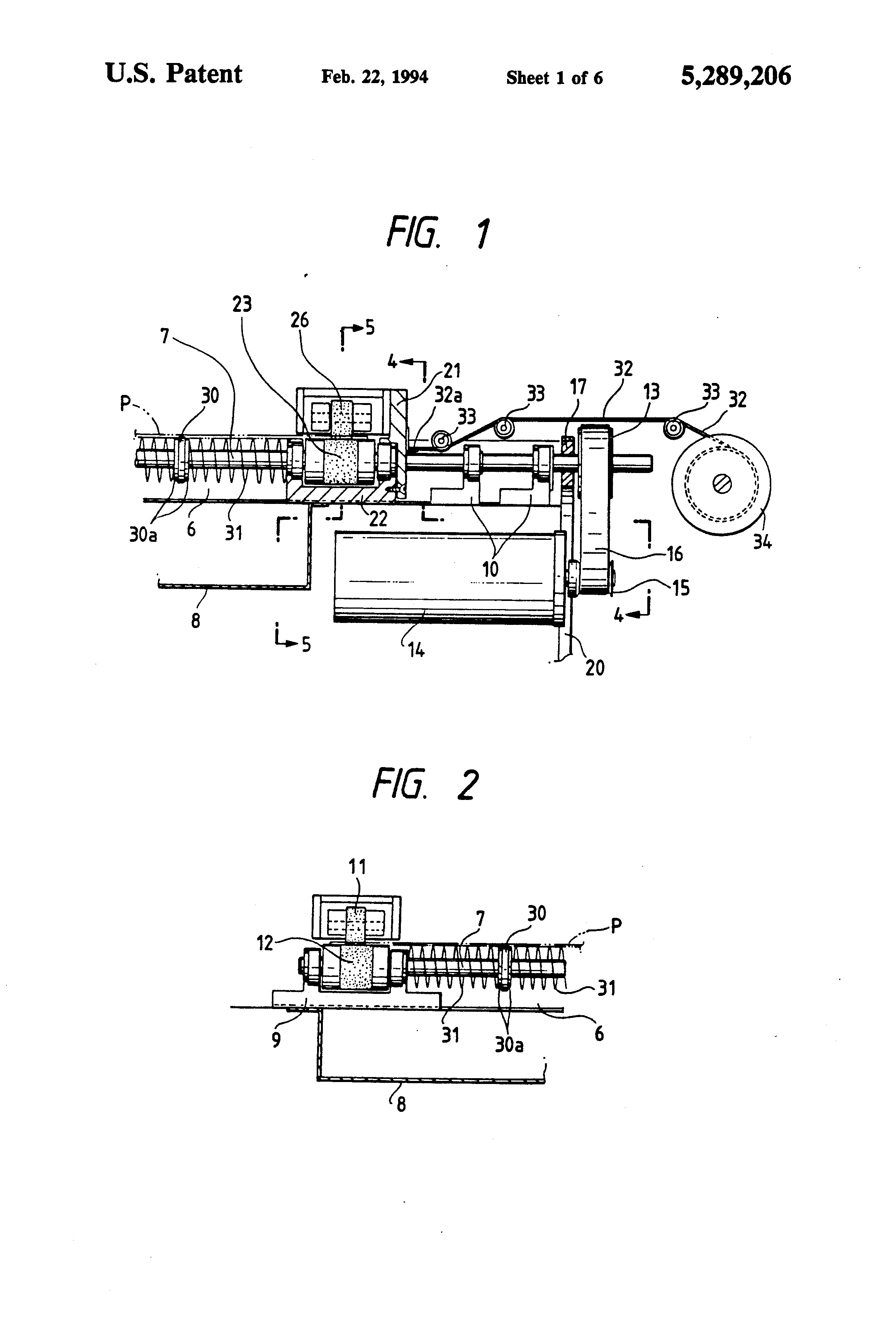 Patent US5289206 - Recording paper feeding portion in an XY