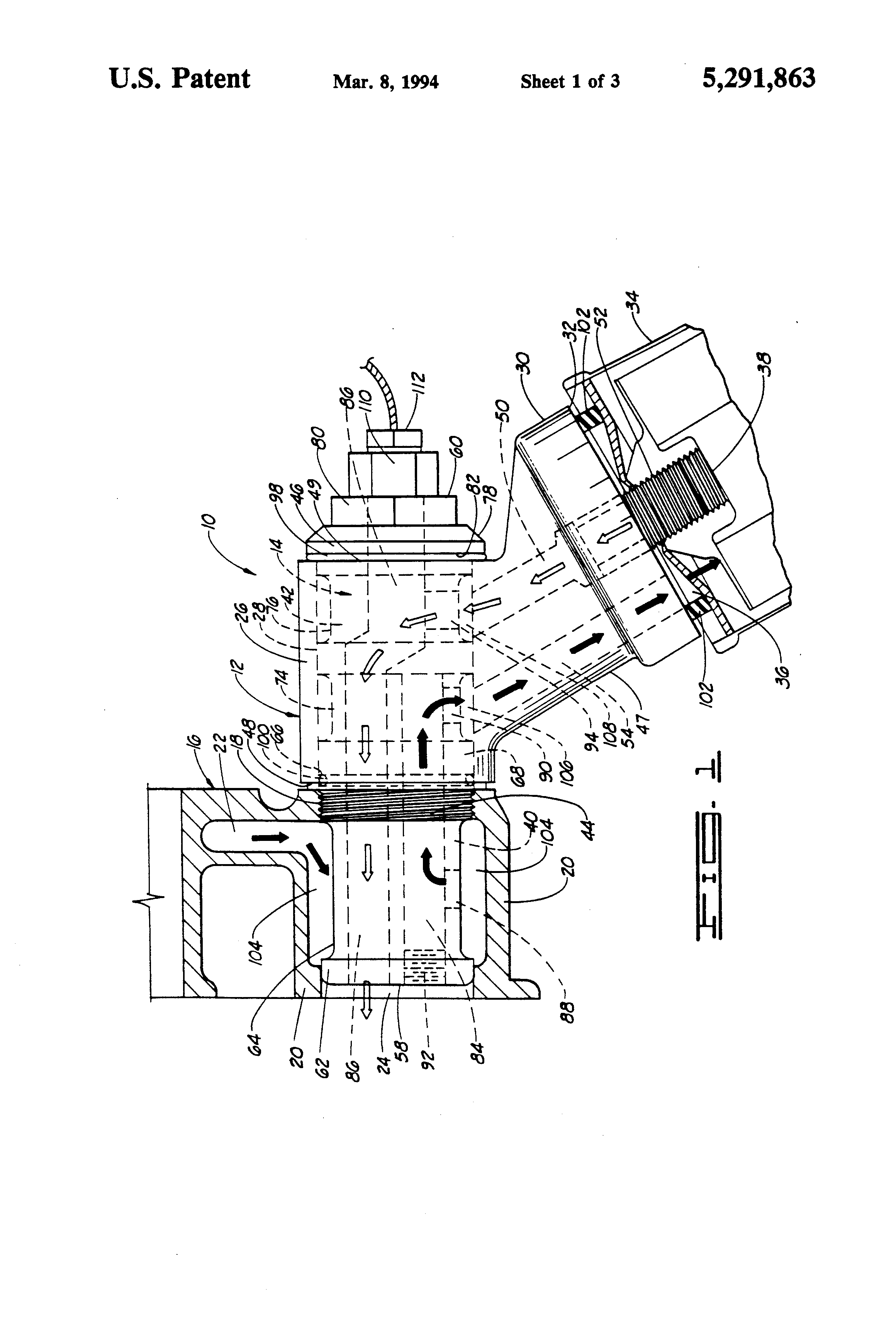 Patent Us5291863 Spin On Oil Filter Adapter For Six