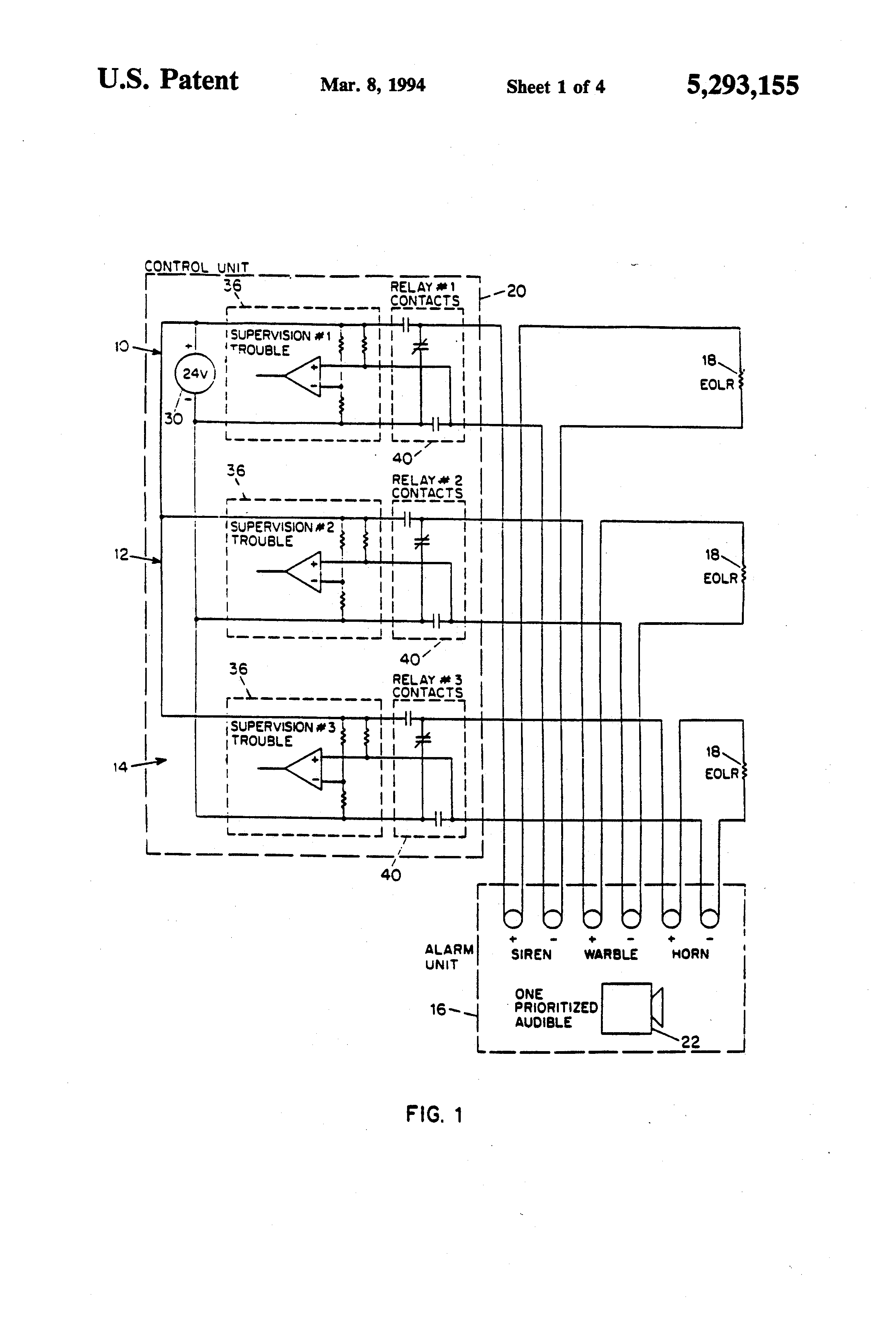 Us5293155 Interface For A Supervised Multi Input End Of Line Resistors Eolr Normally Open And Closed Circuits Patent Drawing