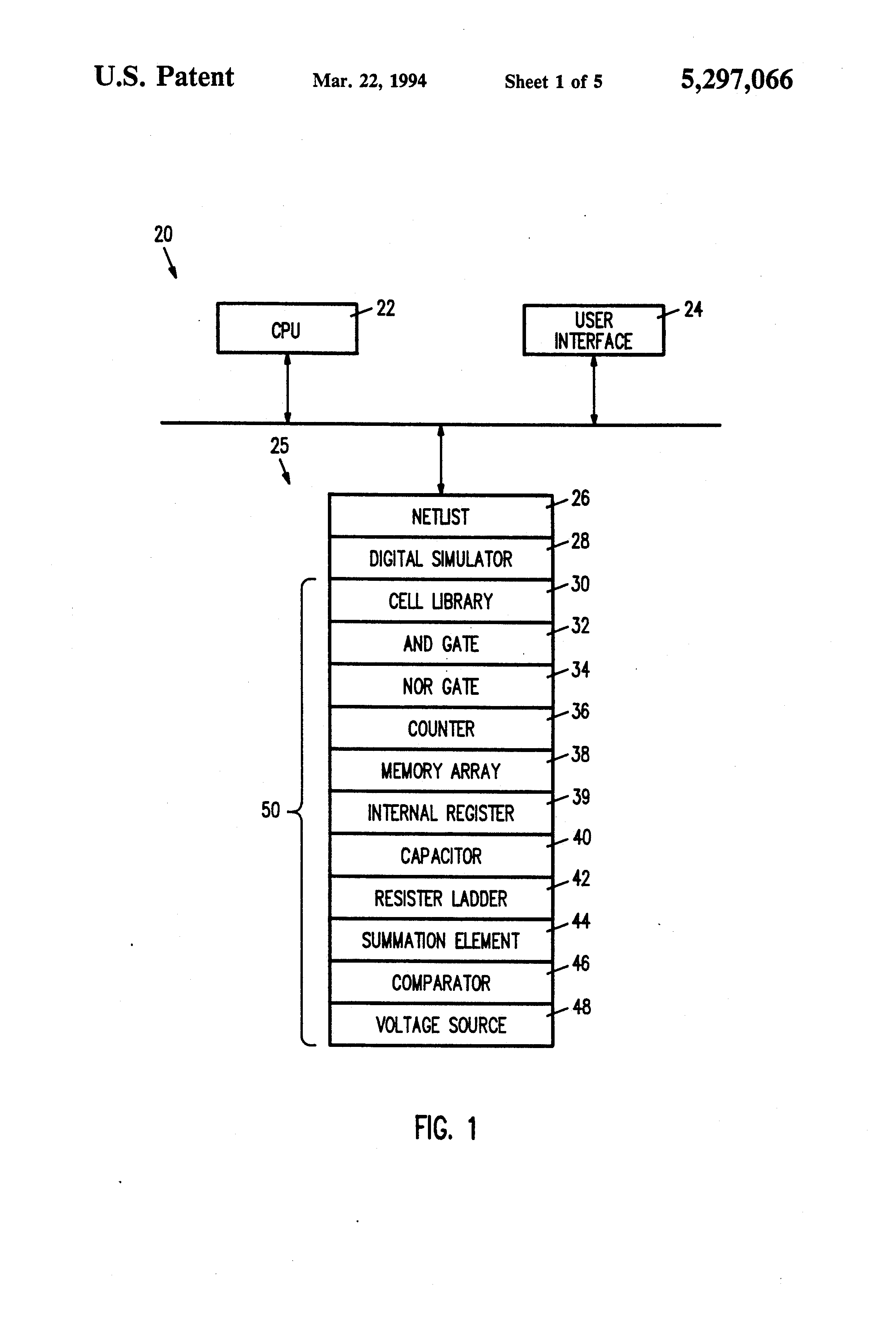 Patent Us5297066 Digital Circuit Simulation Of Analog What Simulator Does Everyone Use Page 1 Drawing