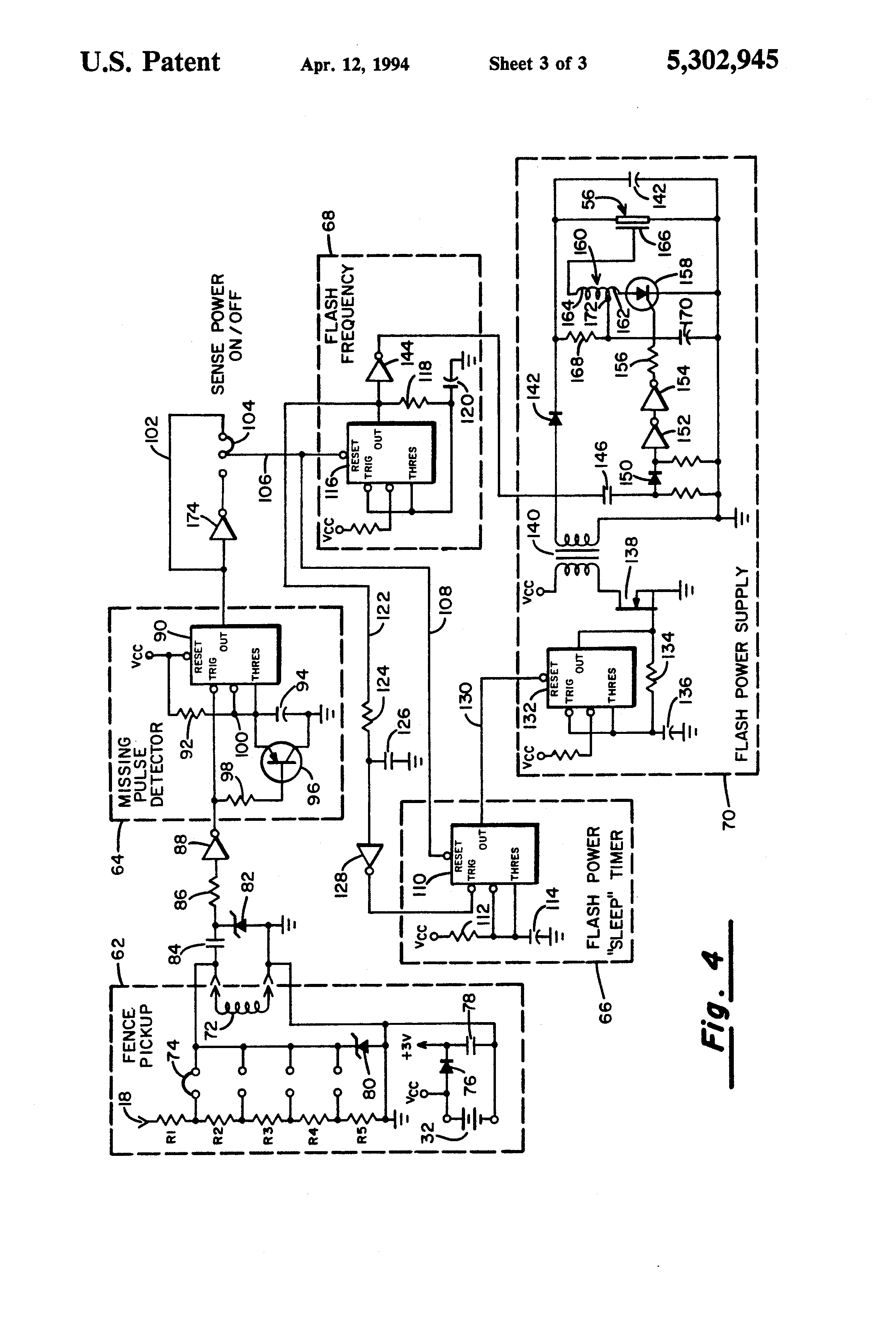 patent us5302945 - electric appliance fault monitor and indicator