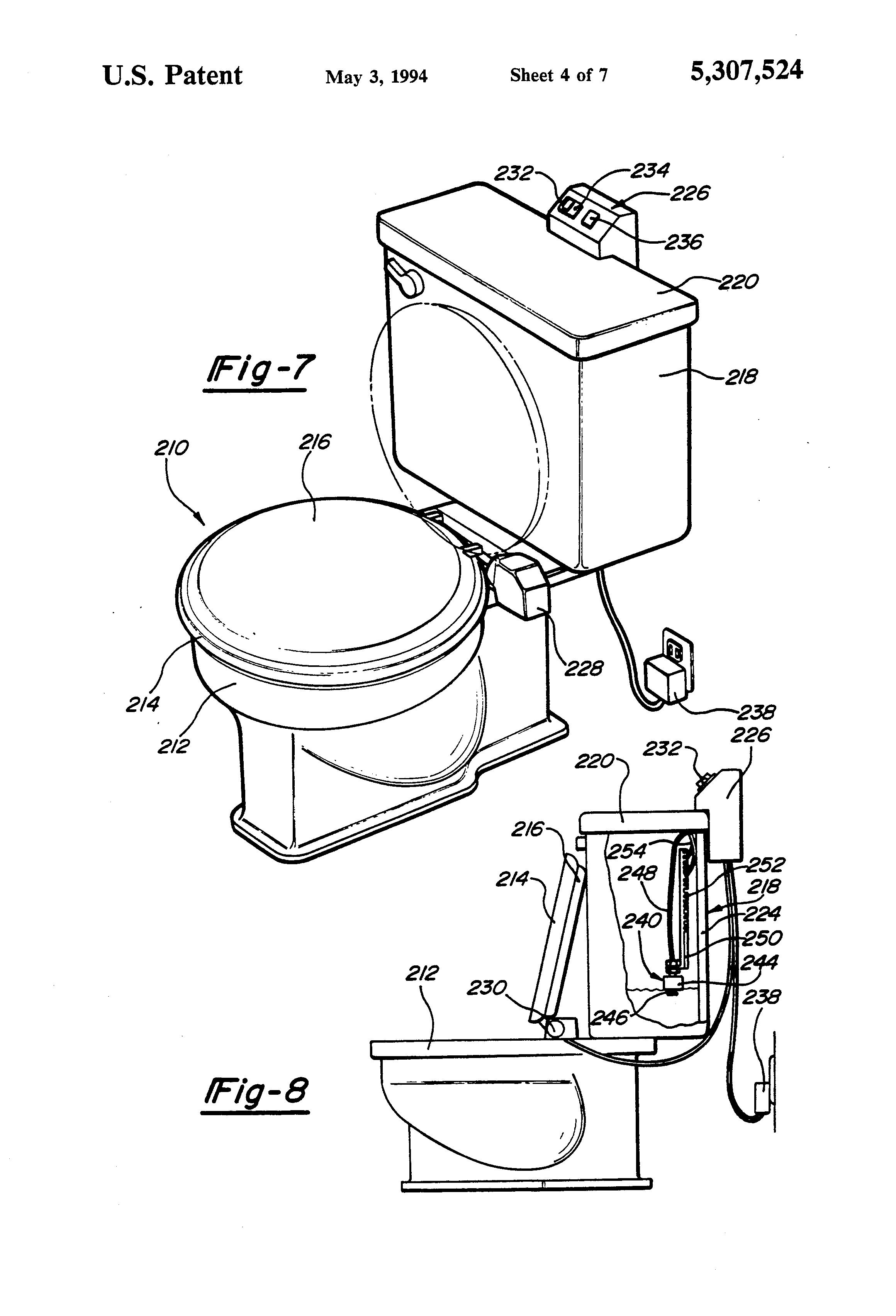 patent us5307524 automatic toilet seat device google patents. Black Bedroom Furniture Sets. Home Design Ideas