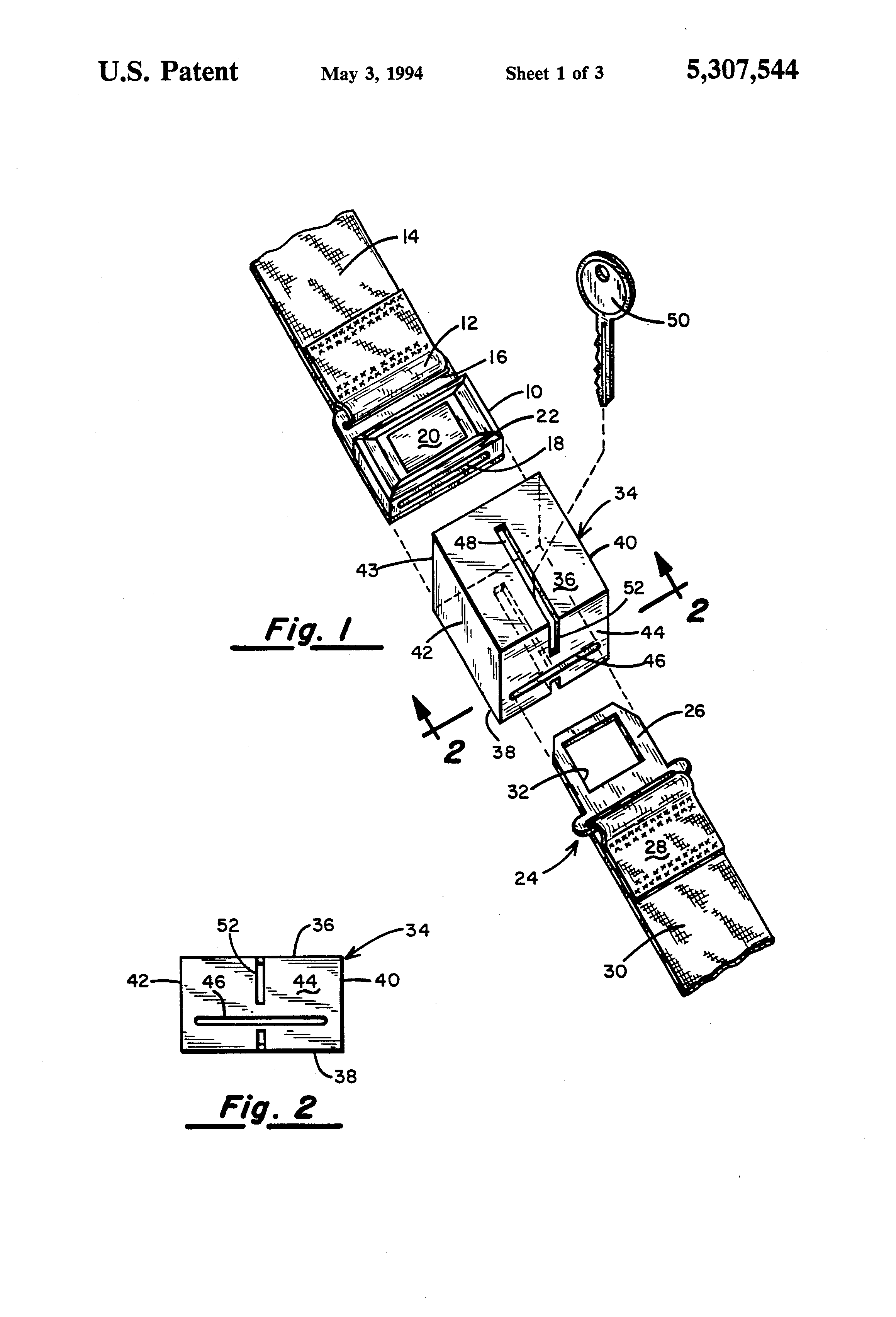 patent us5307544 seat belt buckle guard patents Seat Belt Warning Light Connection patent drawing