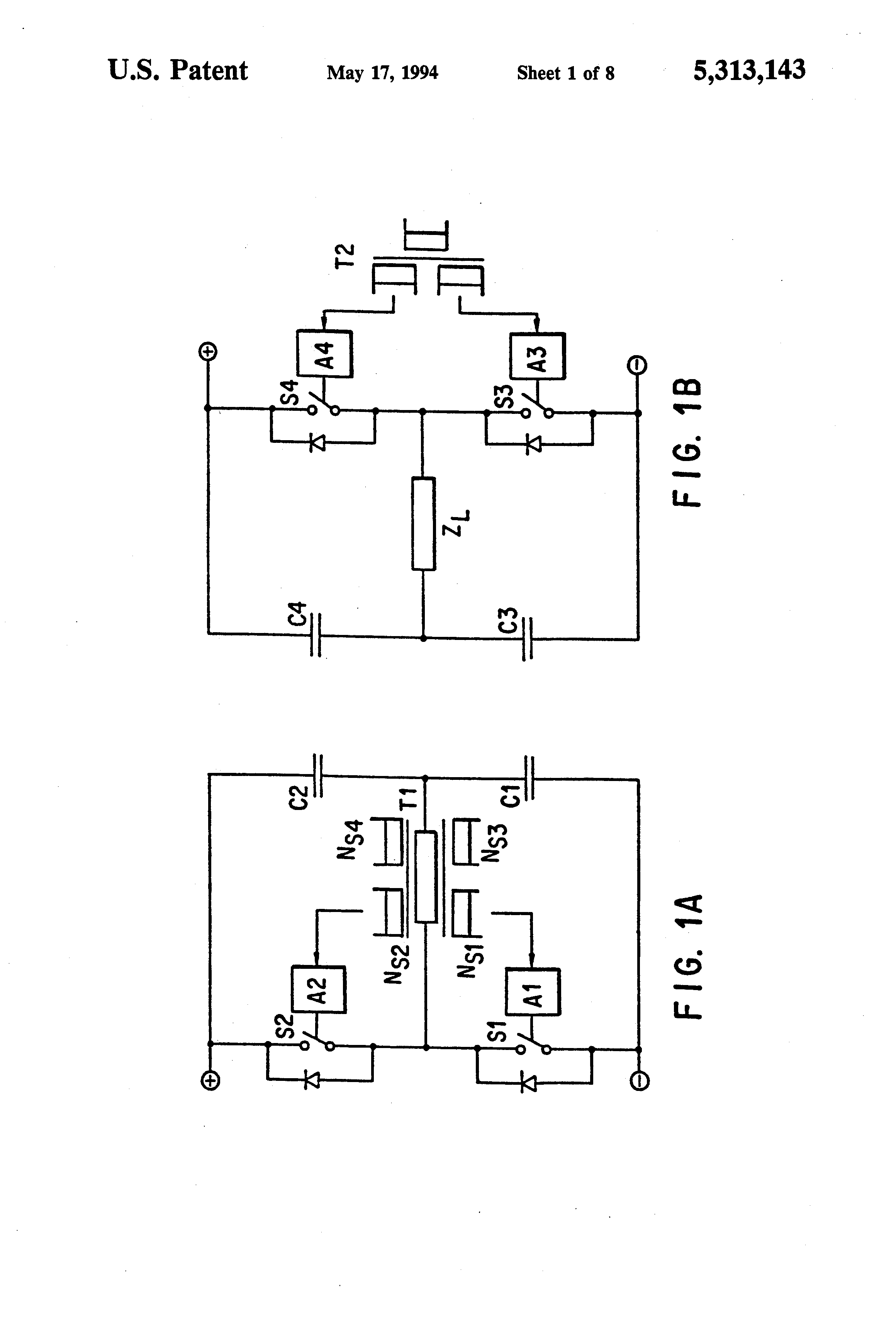 Patent Us5313143 Master Slave Half Bridge Dc To Ac Switchmode Circuit Also Electrical On Drawing