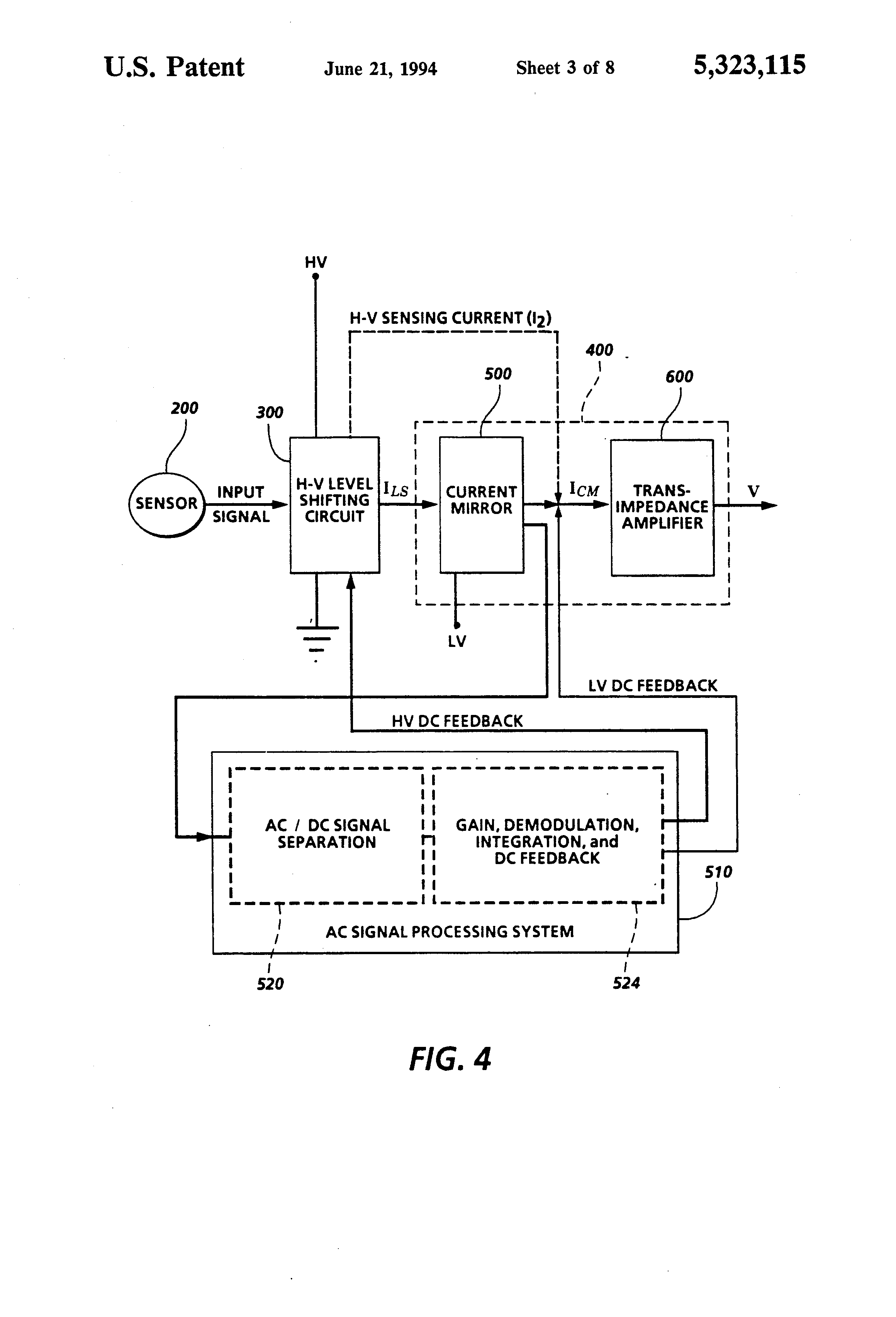 Patent Us5323115 Electrostatic Voltmeter Producing A Low Voltage Jfet Dc With Drift High Impedance Drawing