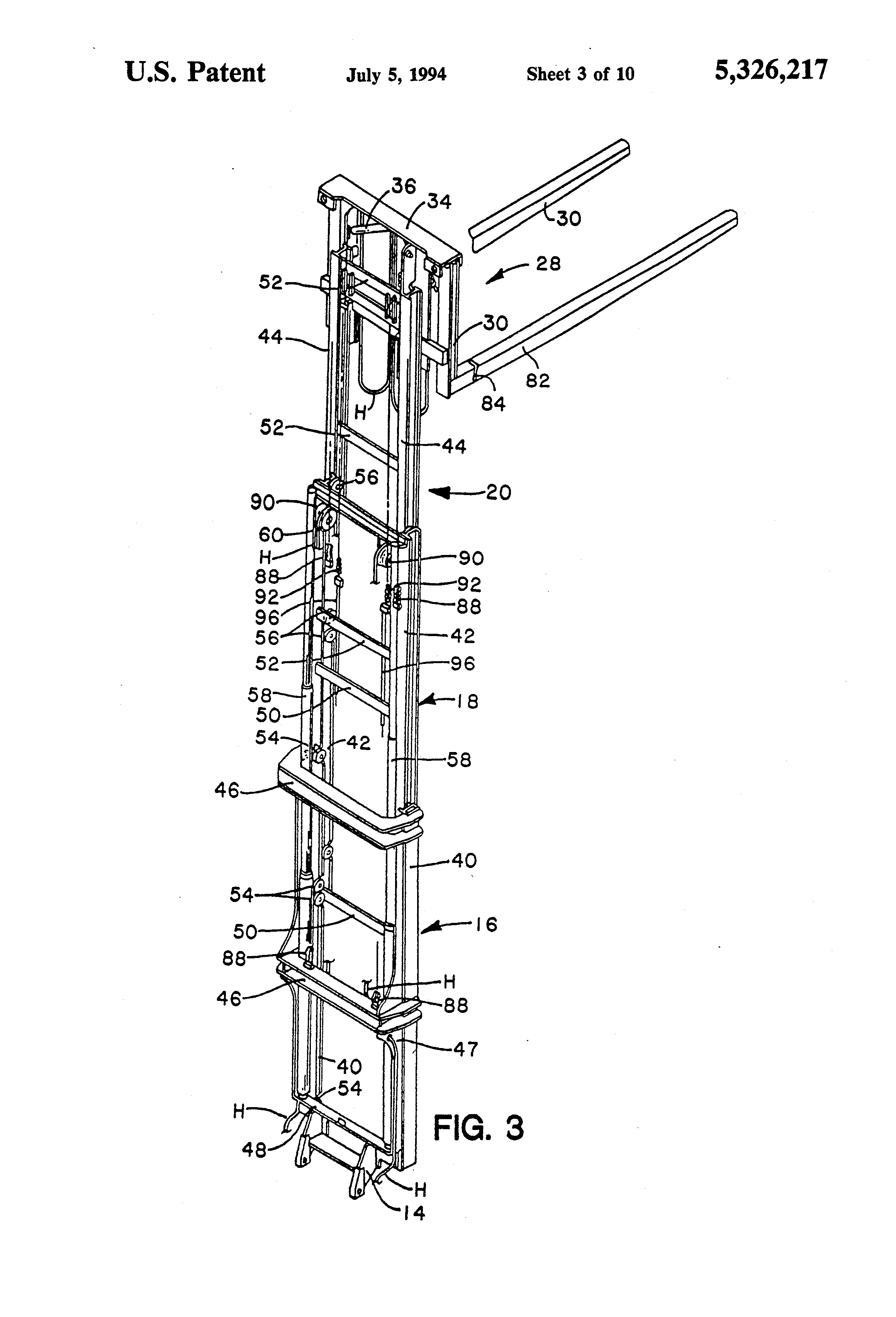 patent us5326217 - lift truck with negative drop upright