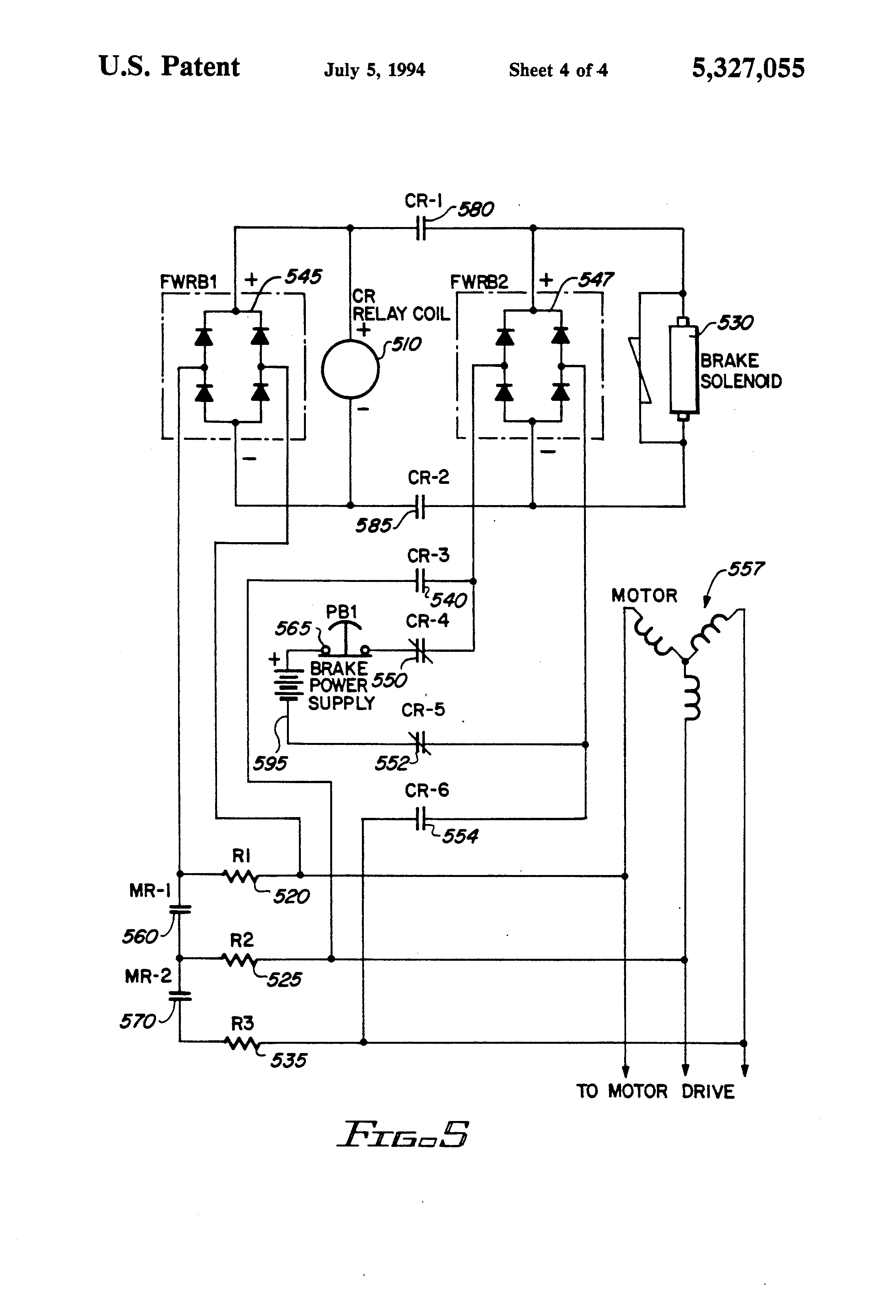 Patent Us5327055 Mechanical Brake Hold Circuit For An Electric