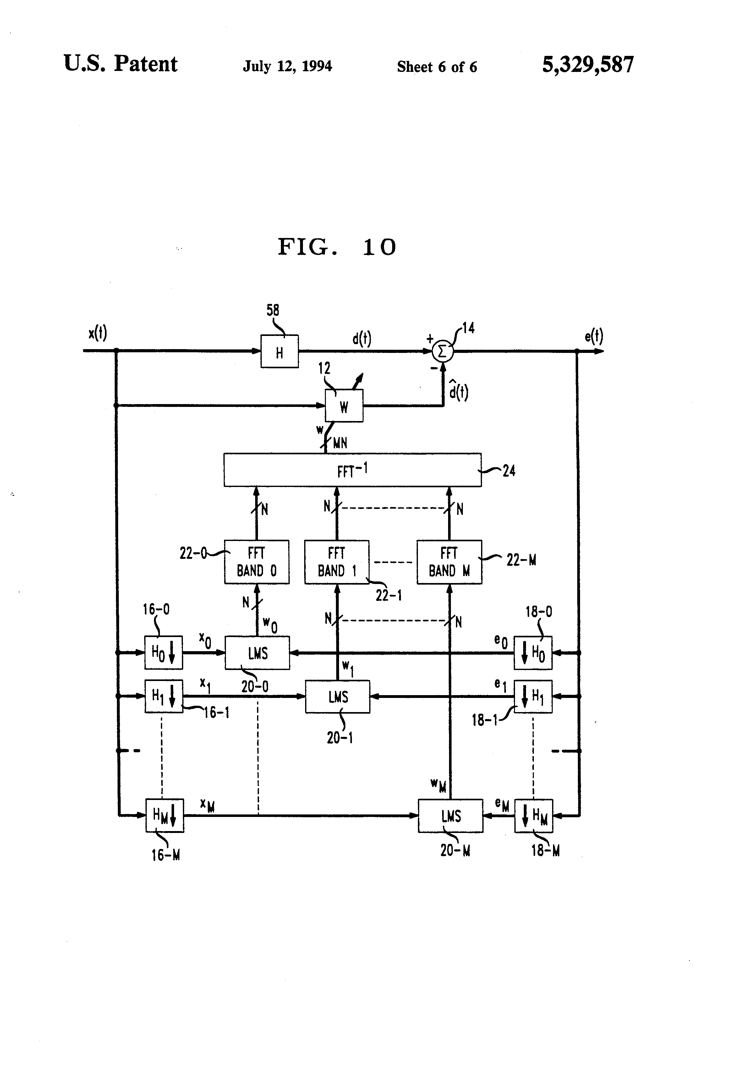 patent us5329587 - low-delay subband adaptive filter