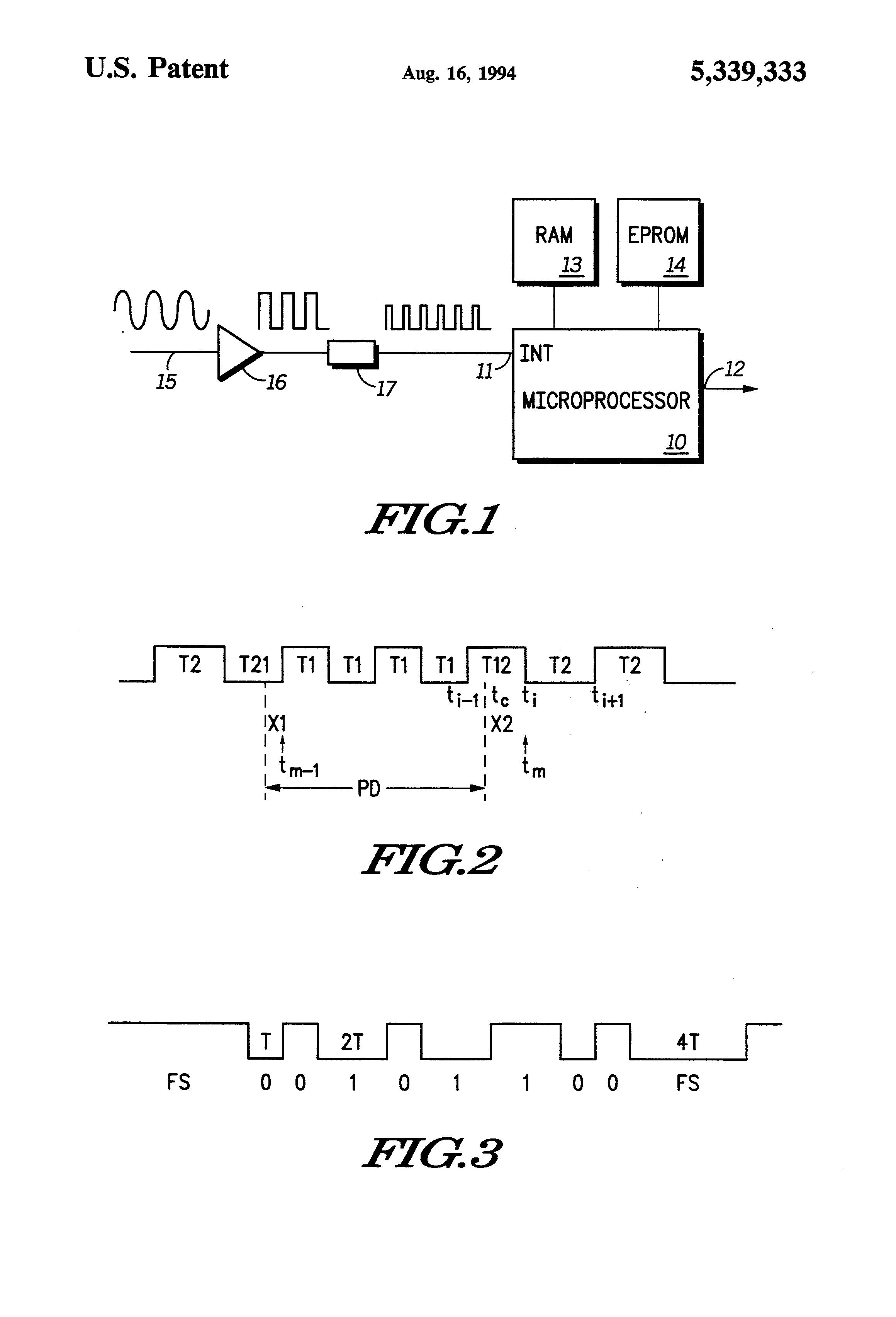 براءة الاختراع US5339333 - FSK demodulator using signal transitions