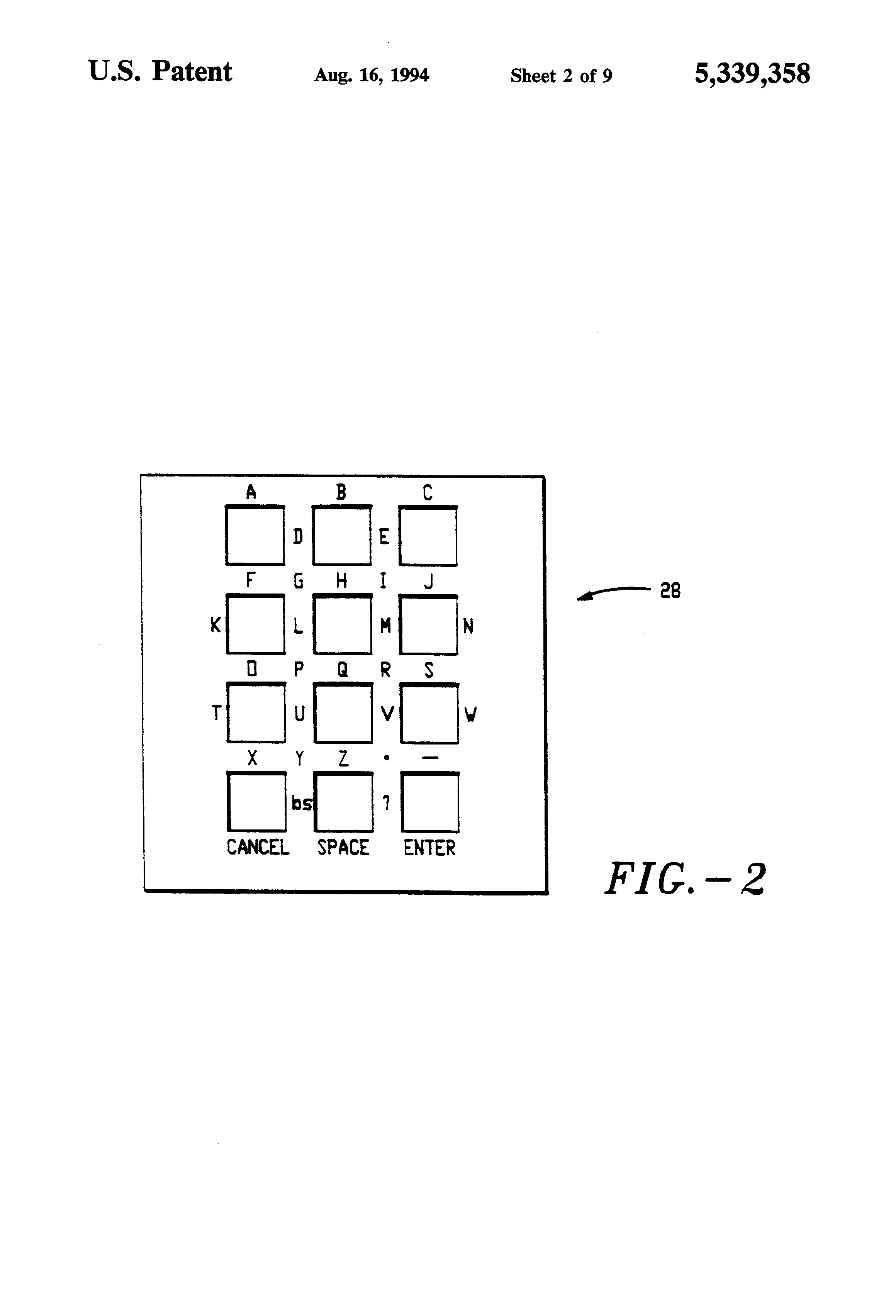 patent us5339358 - telephone keypad matrix
