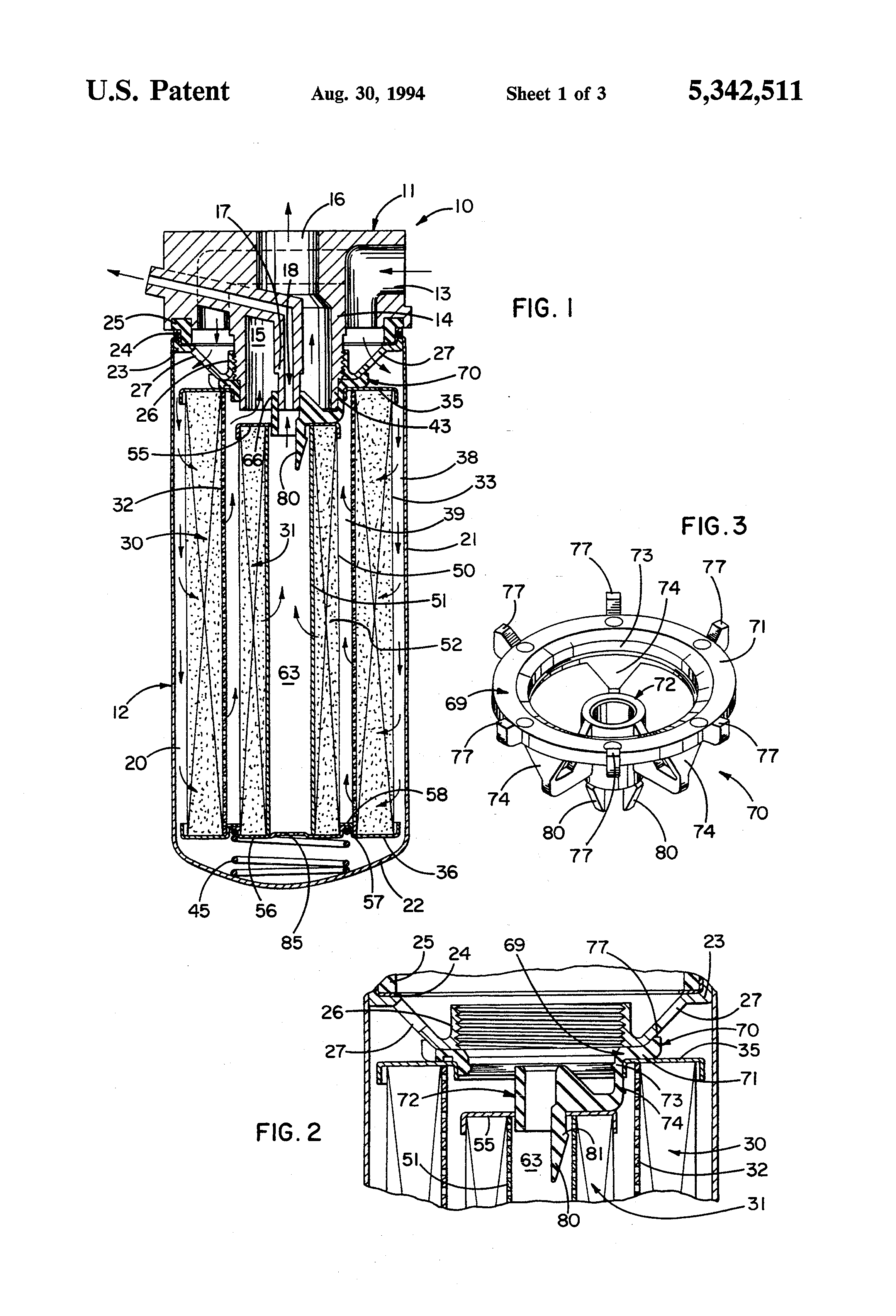 patent us5342511 - oil filter with inner and outer coaxial filter elements