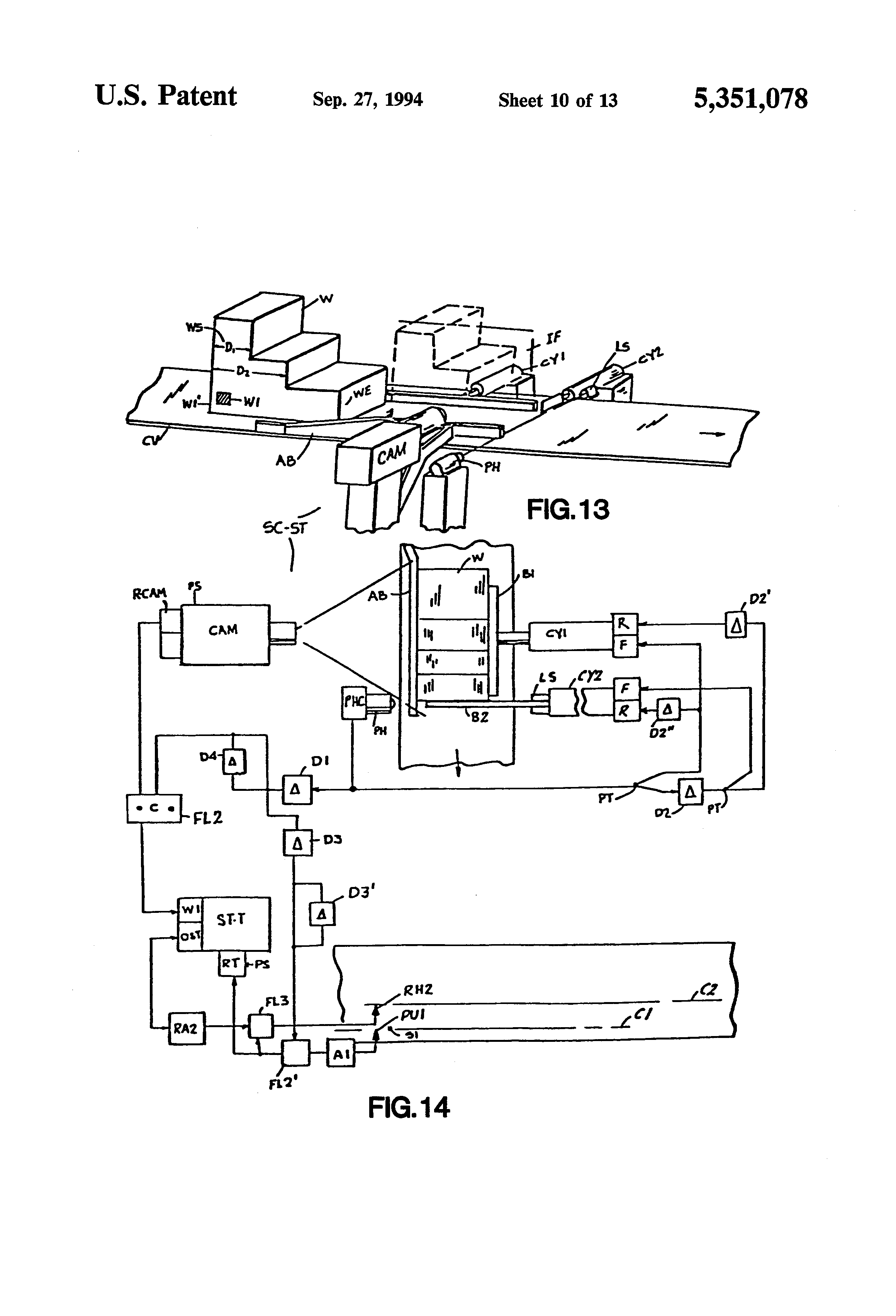 Patent Us5351078 Apparatus And Methods For Automated Observation Computer Programcontrolled Circuit Board Recycling Equipment Drawing