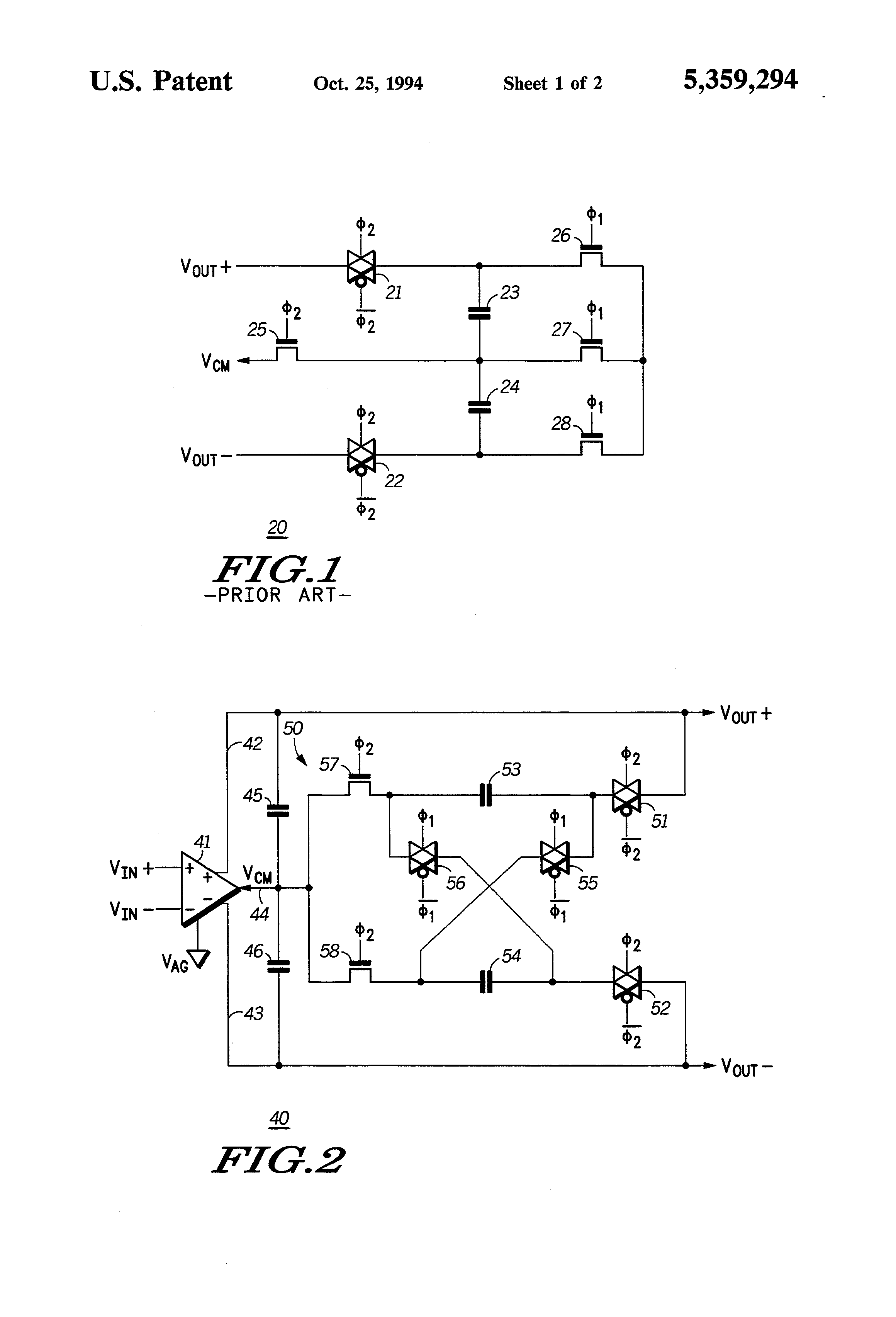 Patent Us5359294 Charge Balanced Switched Capacitor Circuit And Capacitorcircuit Drawing