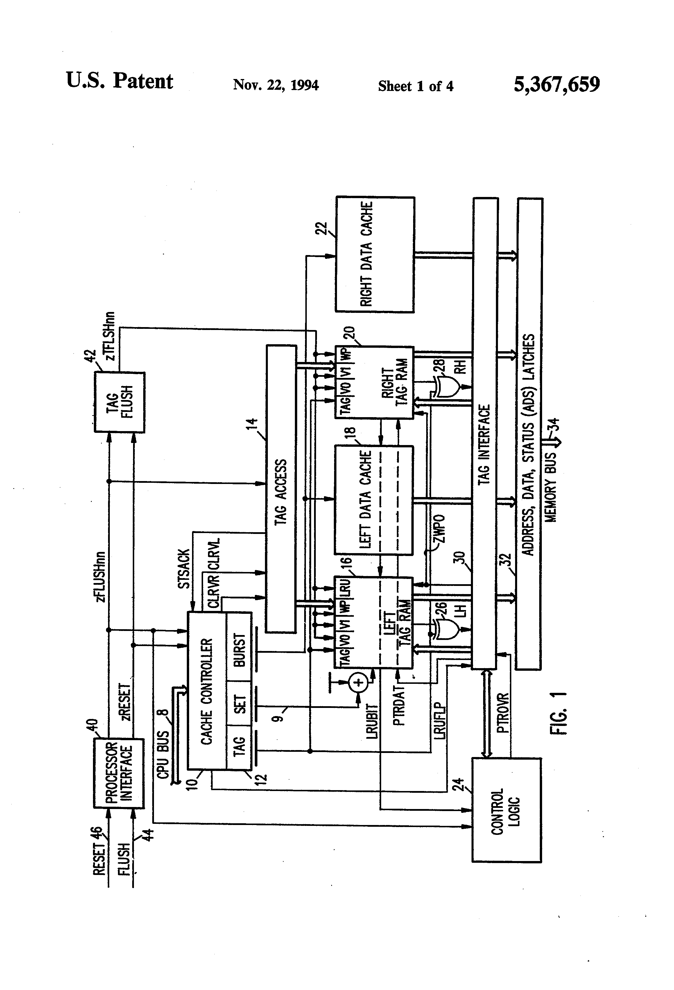Patent Us5367659 Tag Initialization In A Controller For Two Way Logic Diagram Of Ram Drawing