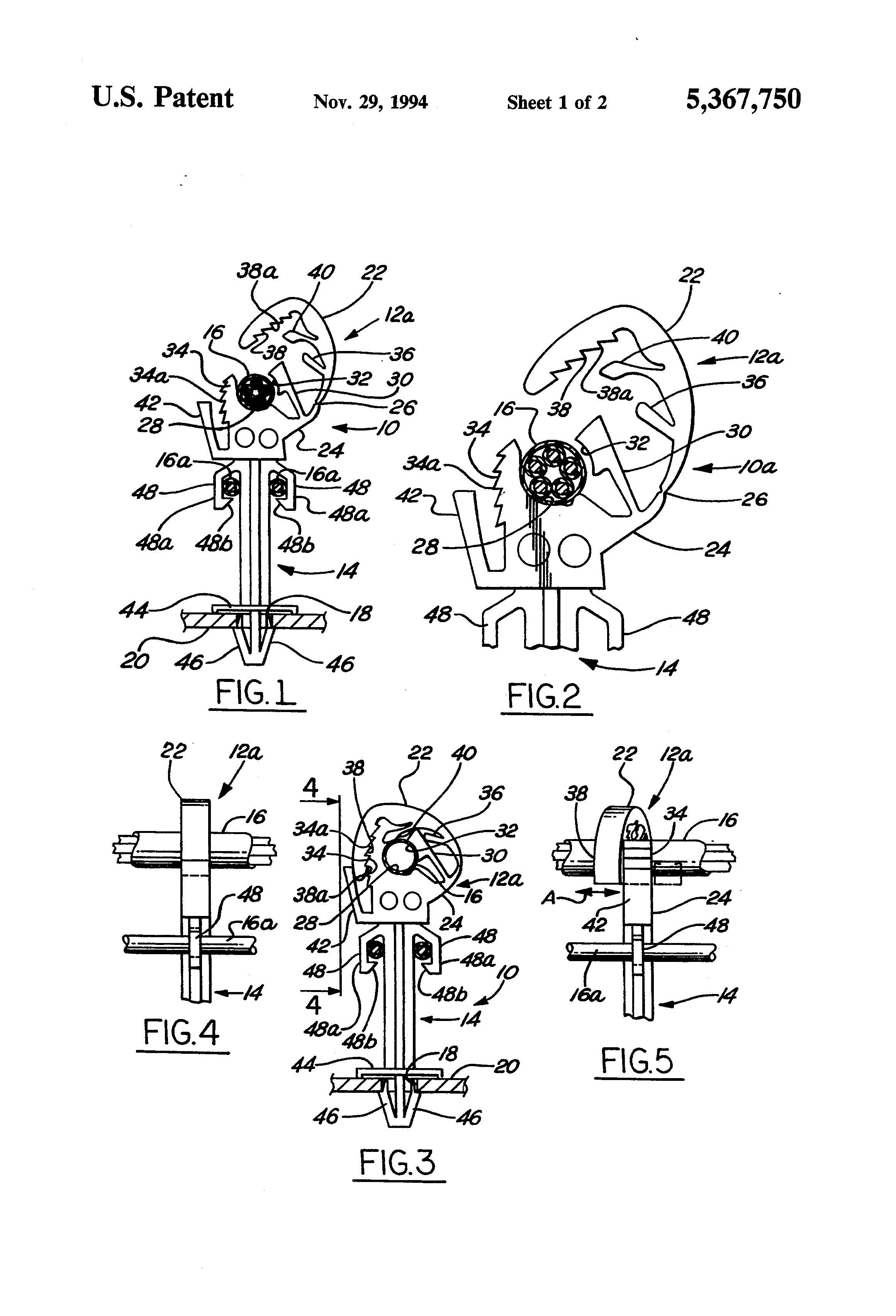 Patent Us5367750 Wiring Harness Clip Google Patents Hinged Clamps Drawing