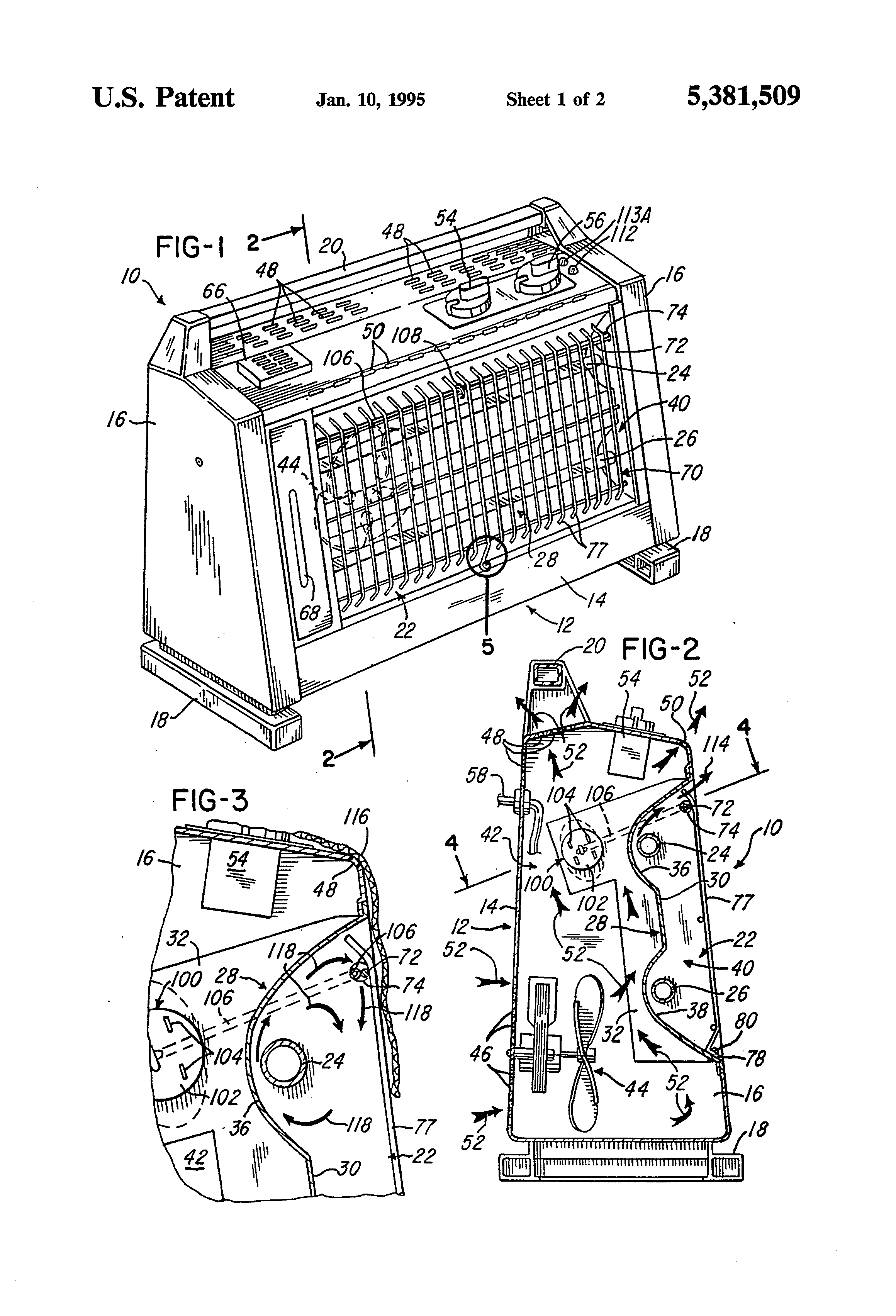 Patent Us5381509 Radiant Electric Space Heater Google