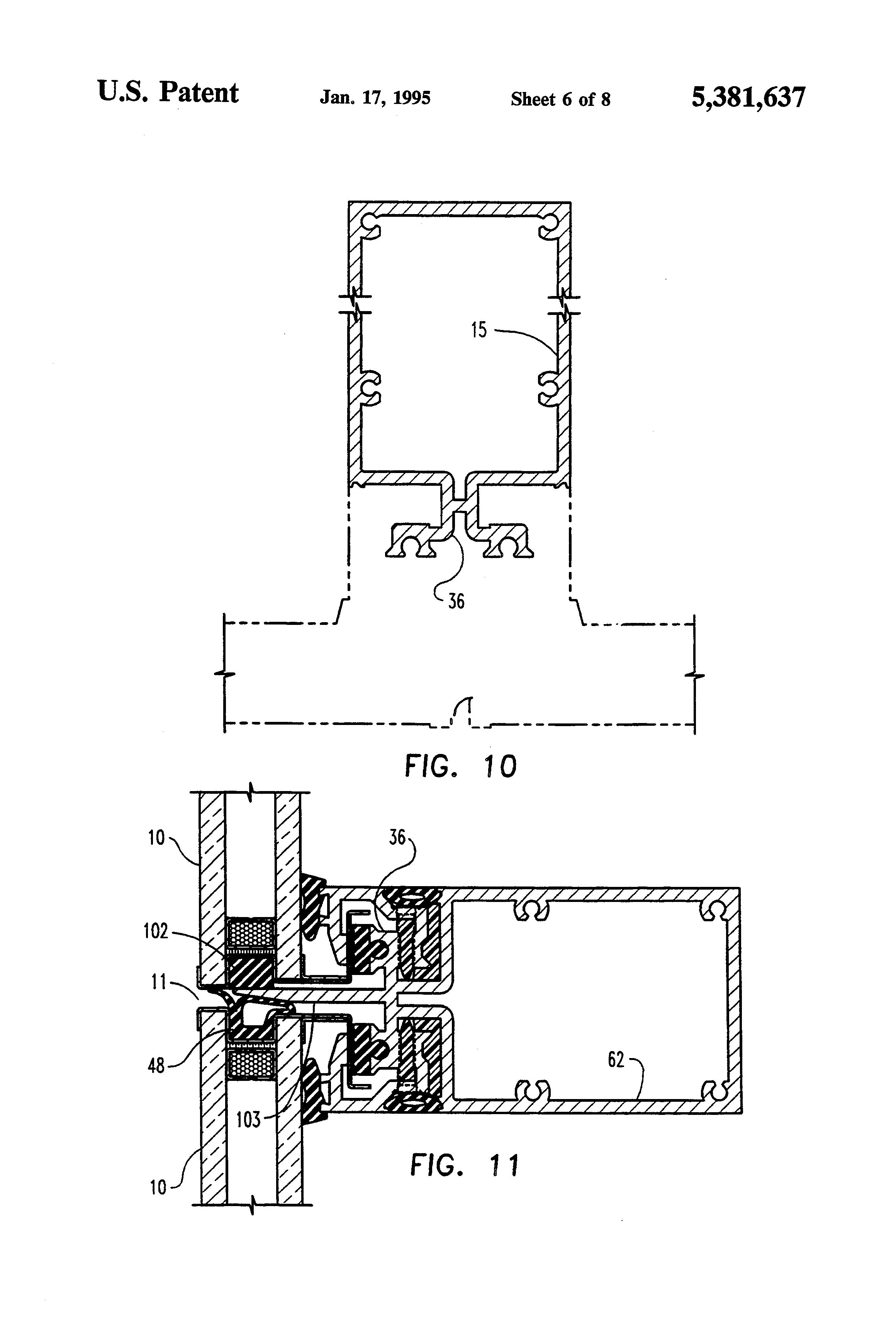 Patent Us5381637 Stopless Butt Joint Curtainwall System
