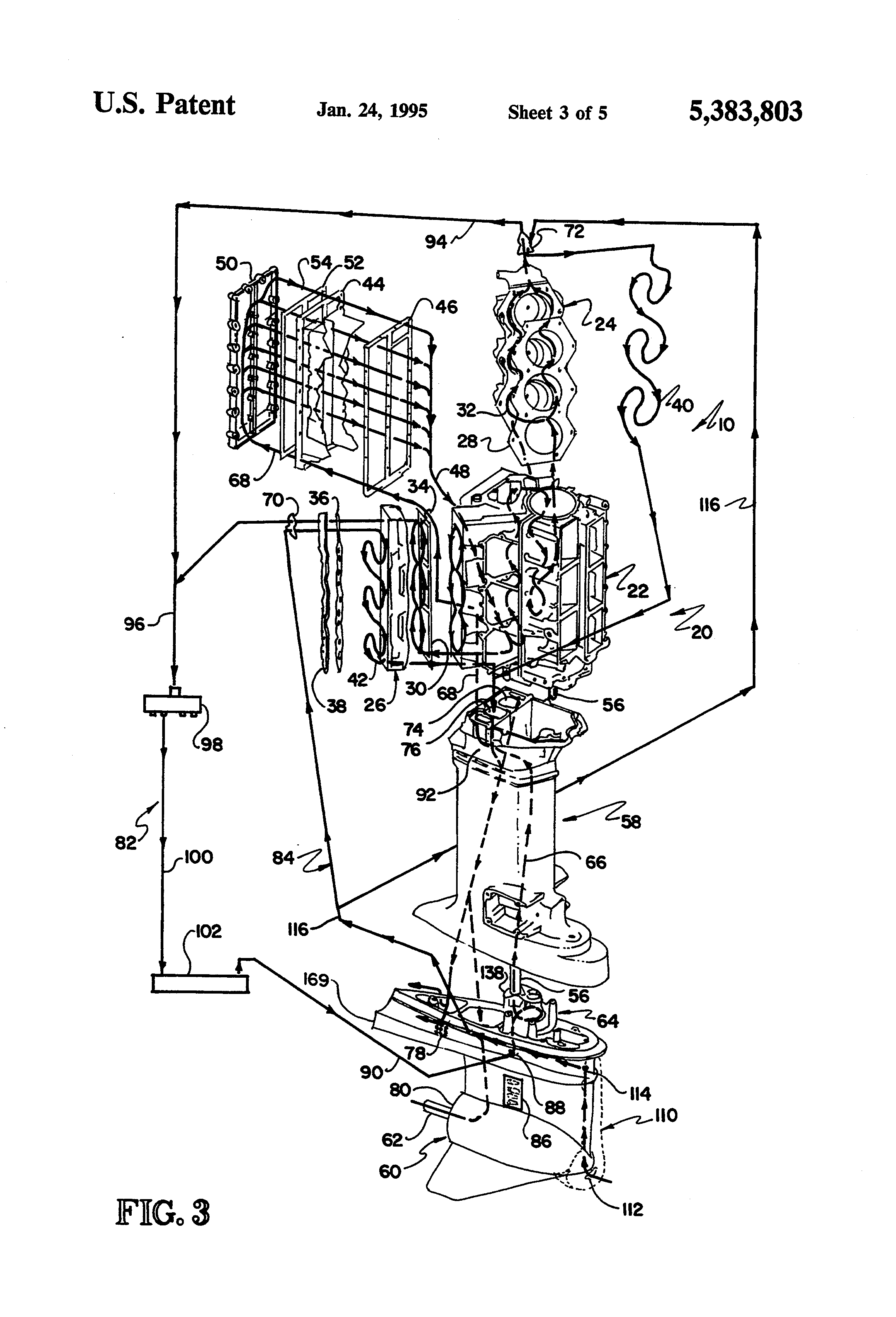 Patent Us5383803 - Outboard Motor Cooling System