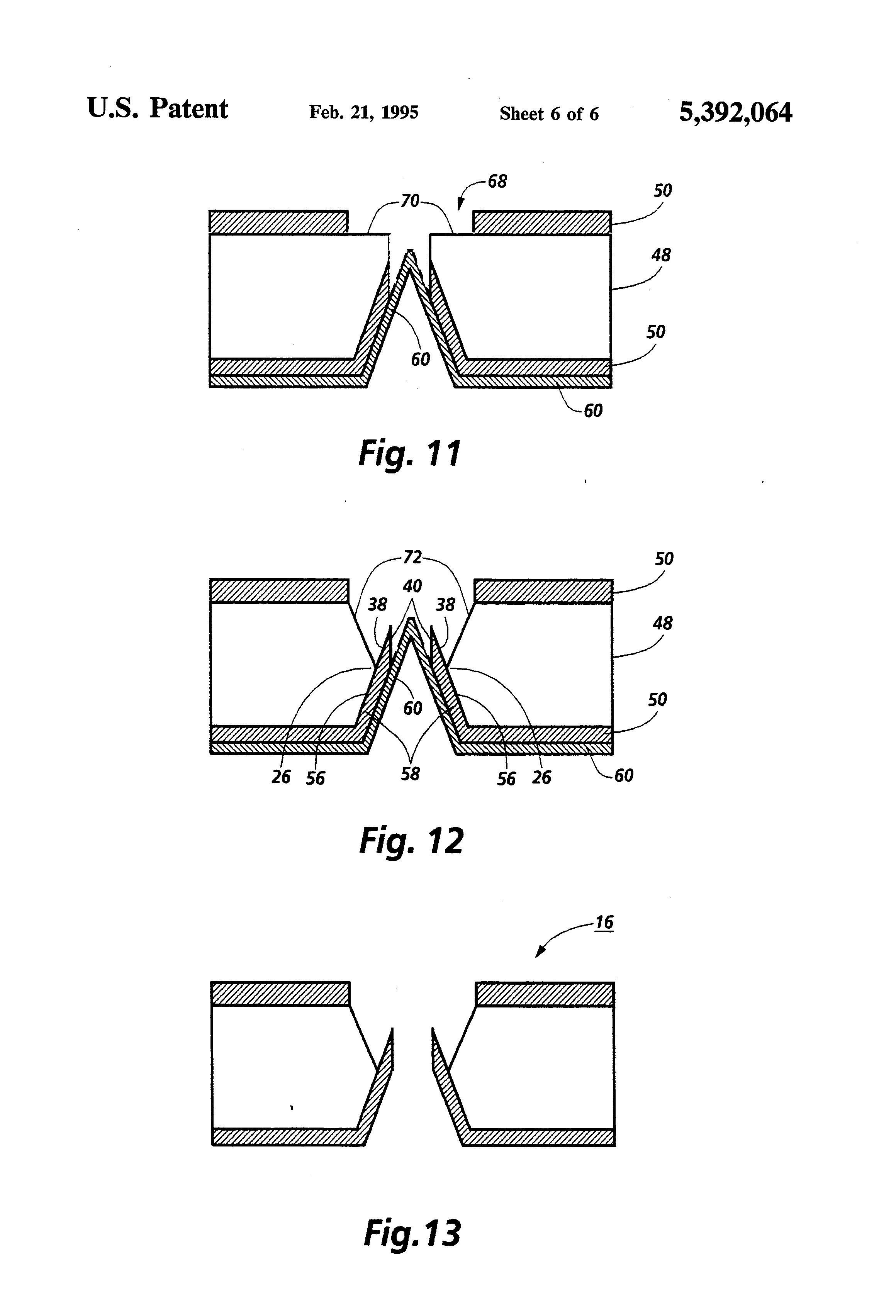 patent us5392064 - liquid level control structure