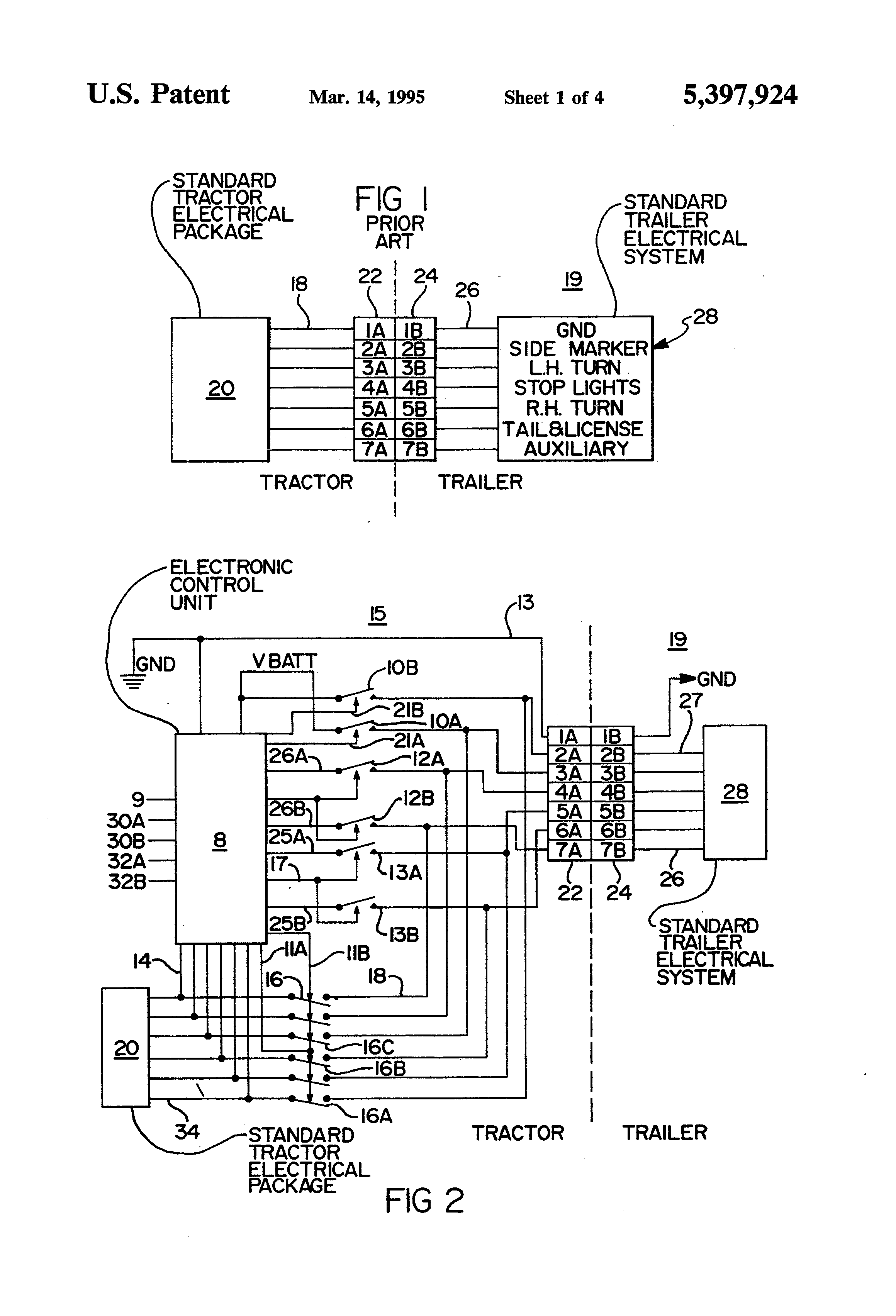 patent us5397924 - truck tractor and trailer electrical communication system