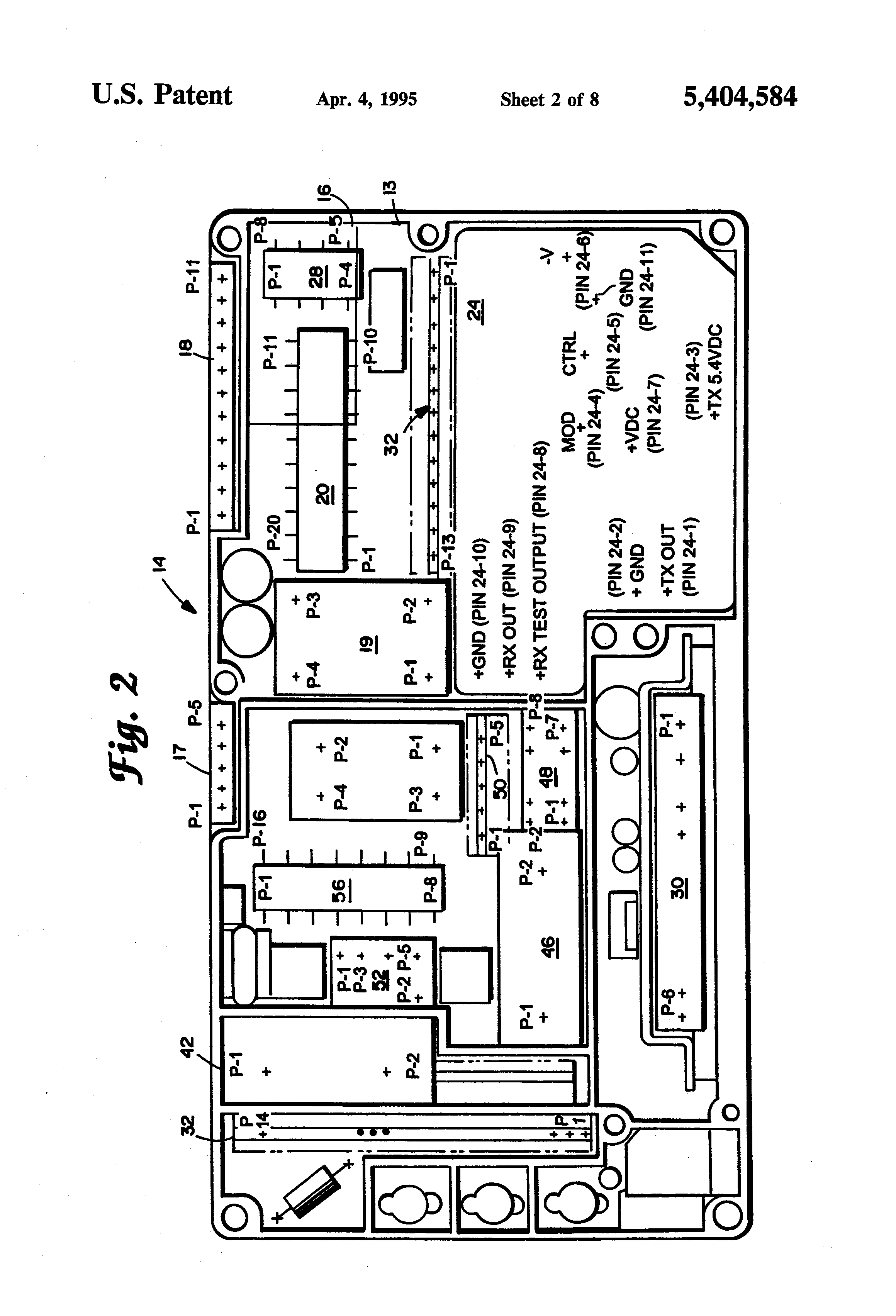 Patent Us5404584 Printed Circuit Board Having Modularized Wiring Function Drawing