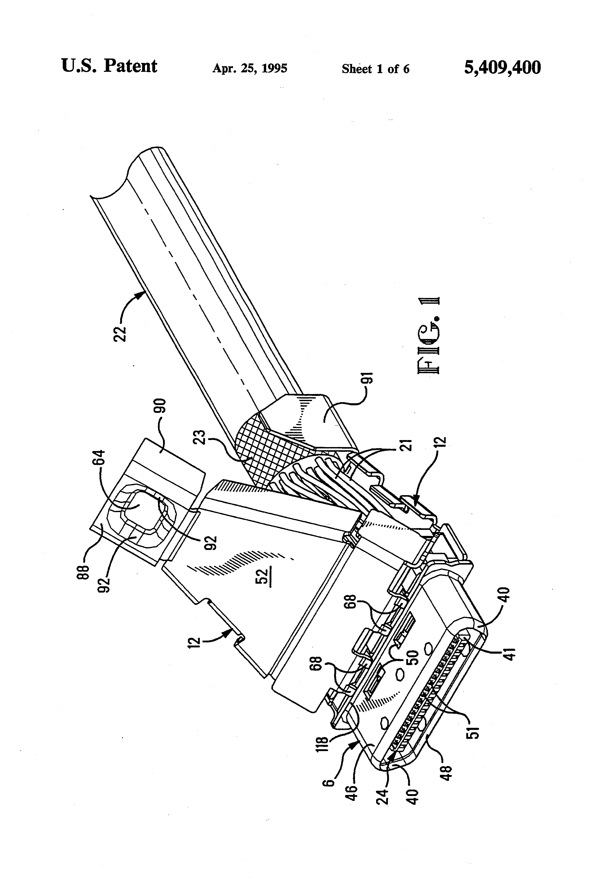 patent us5409400 shielding for an electrical connector Sumitomo Motor Parts patent drawing
