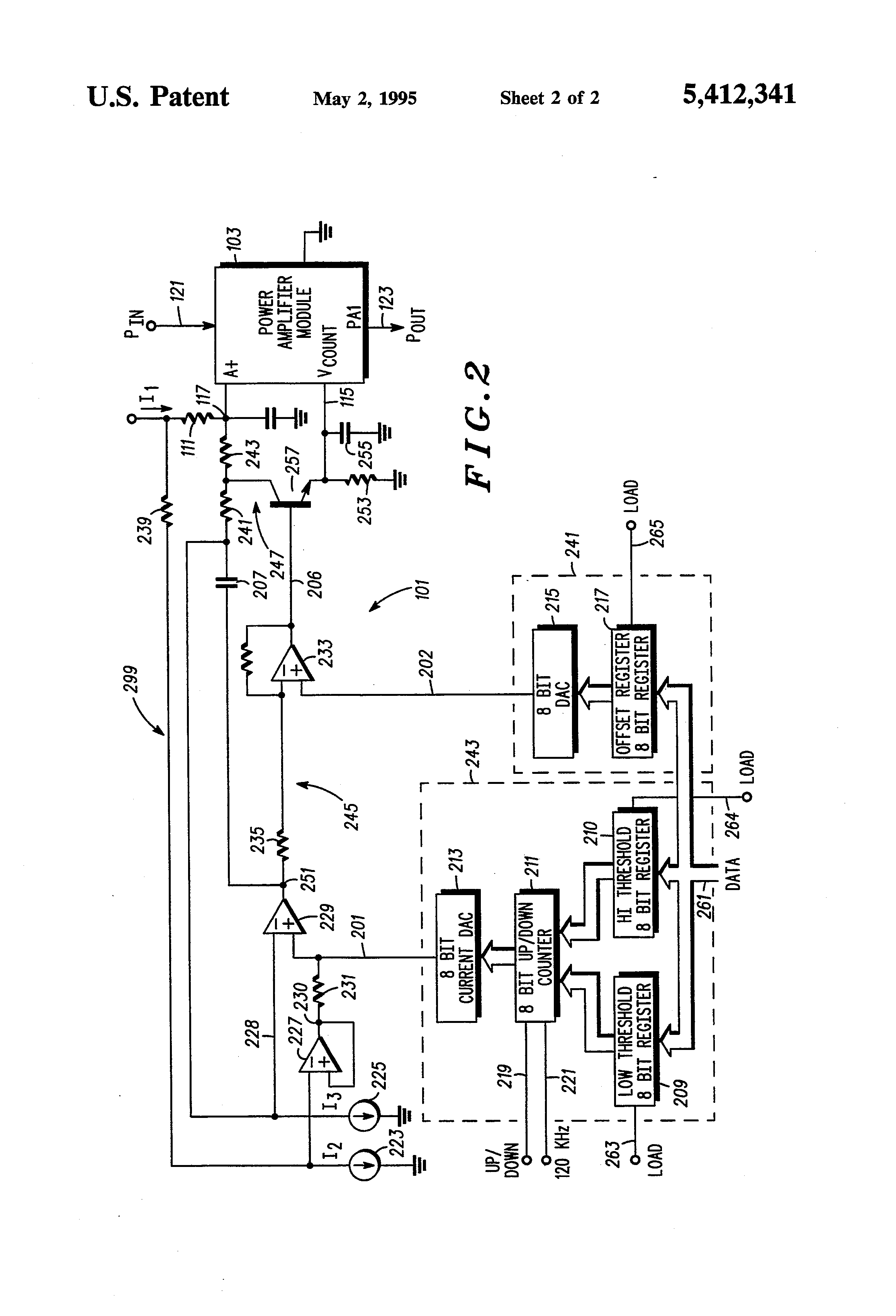 patent us5412341 - power control apparatus and method for a radio frequency amplifier