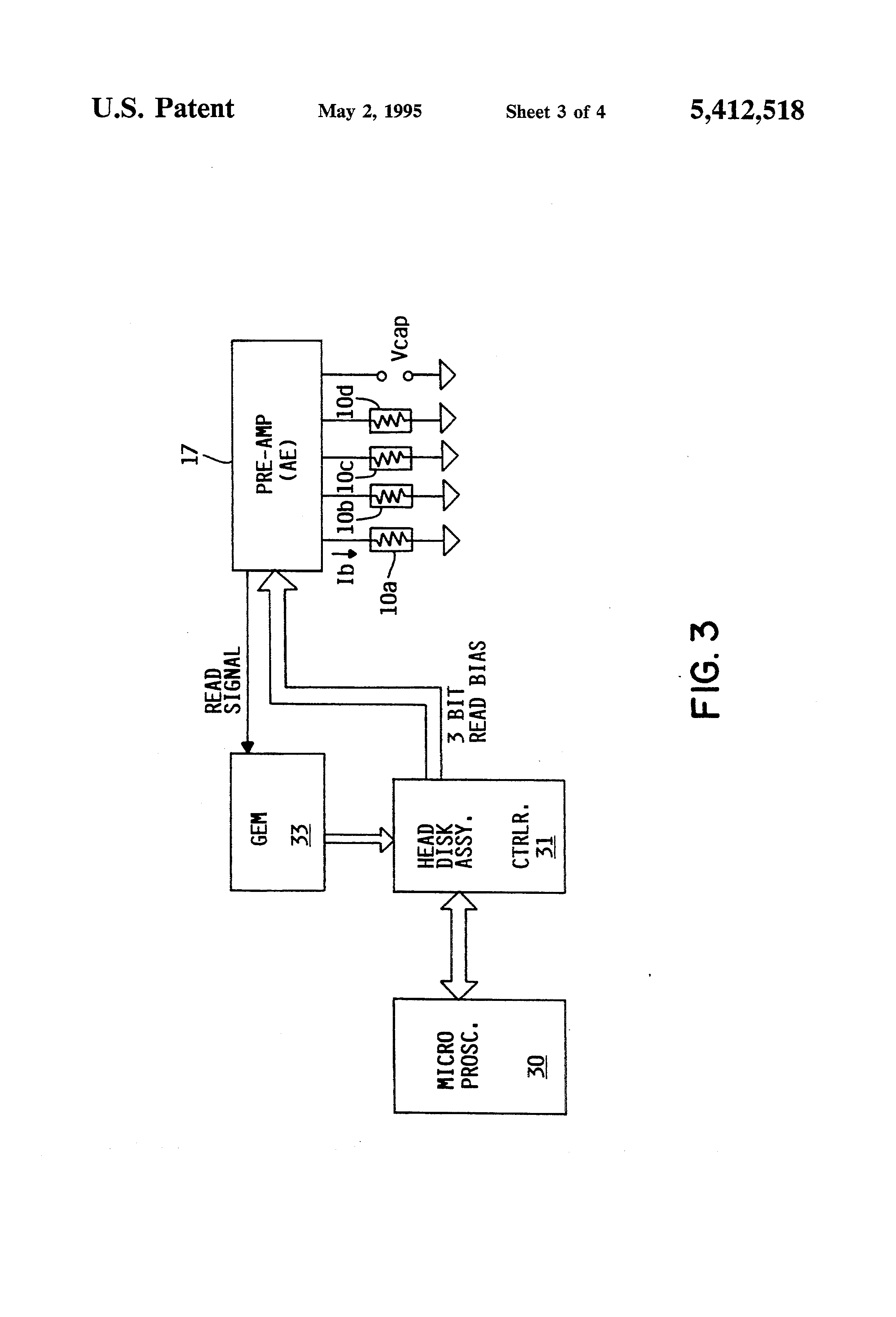 Patent Us5412518 Individual Mr Transducer Head Disk Channel Once The Bias Is Set This Circuit Will Supply A Constant Current To Drawing