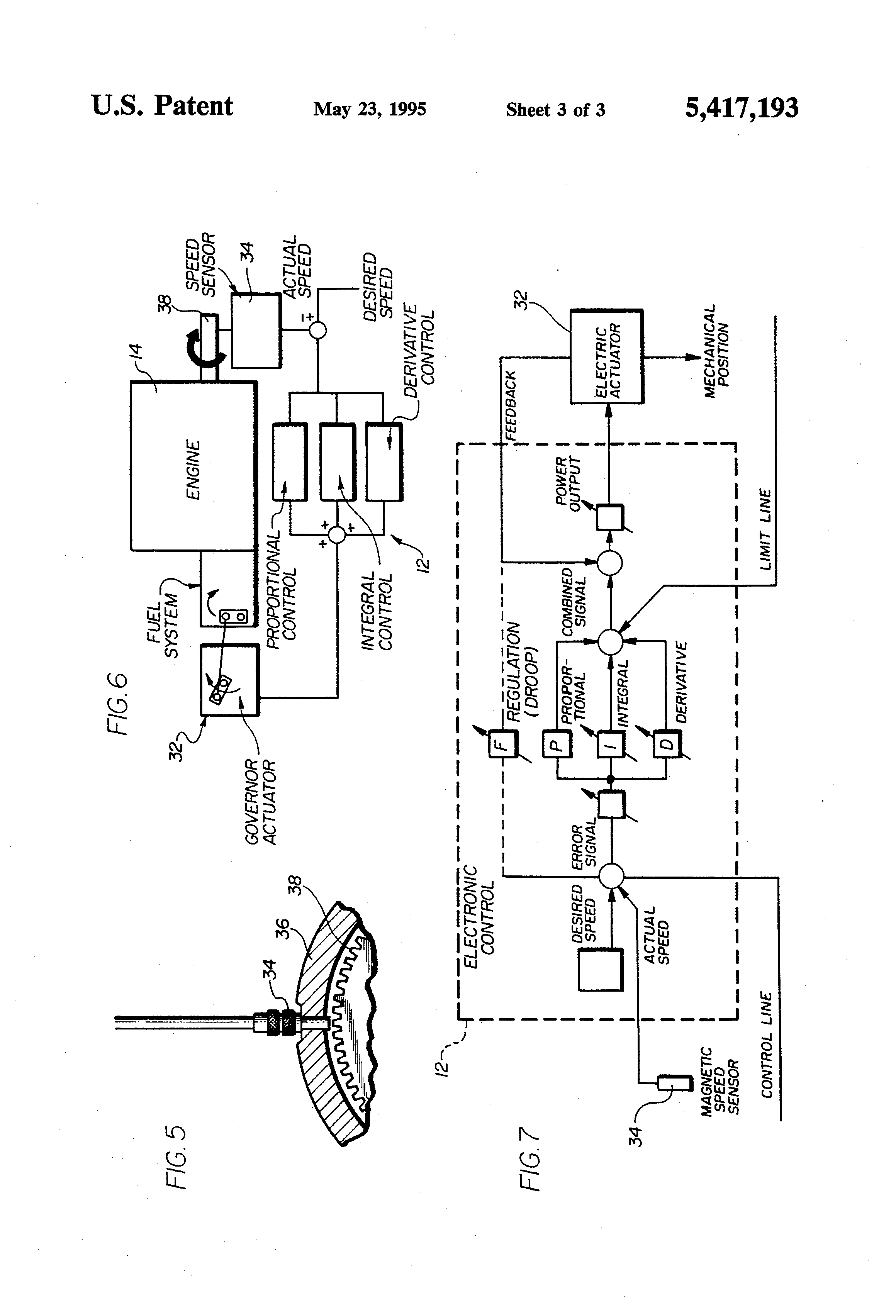 patent us5417193 - engine speed control system and method