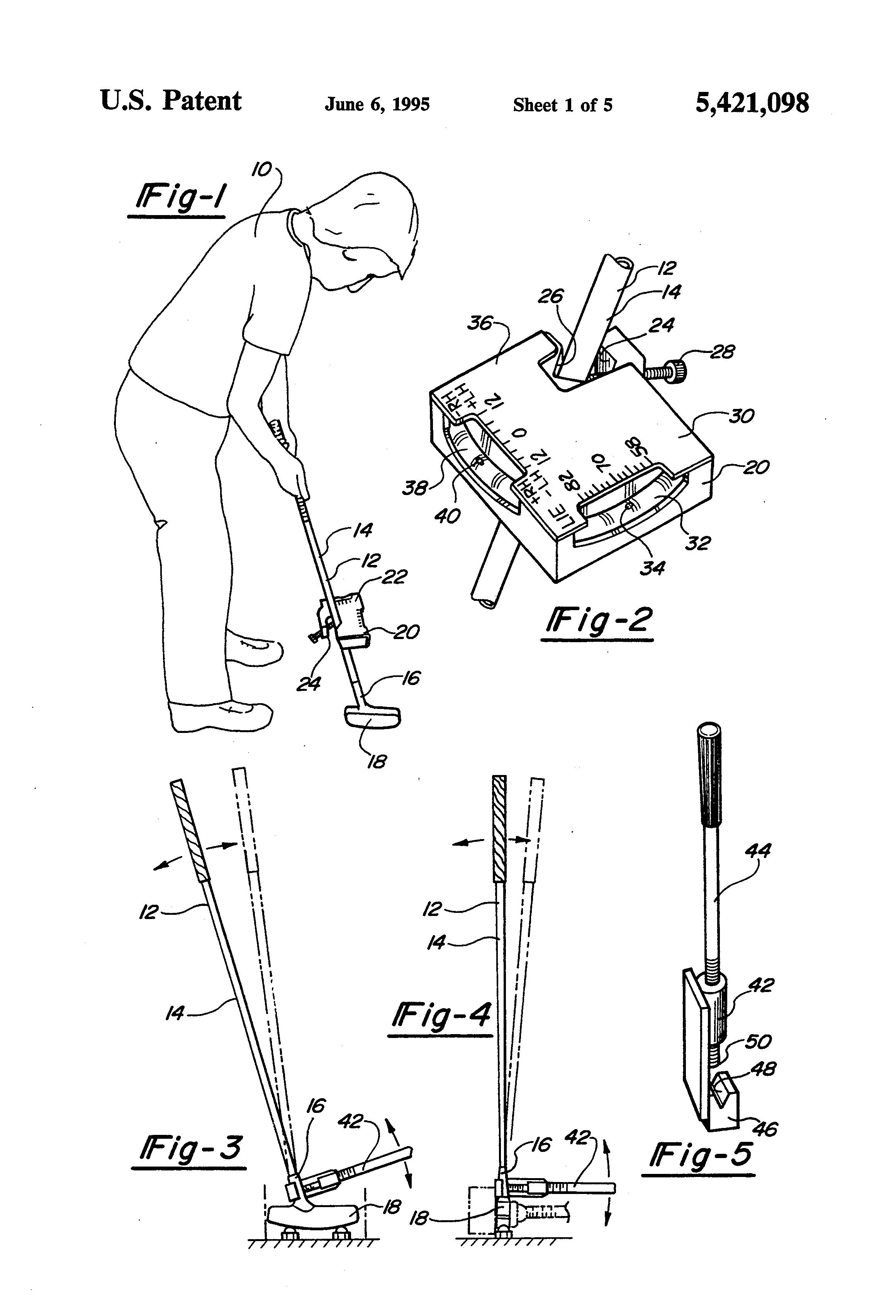 Patent Us5421098 Apparatus For Adjusting Golf Club Loft