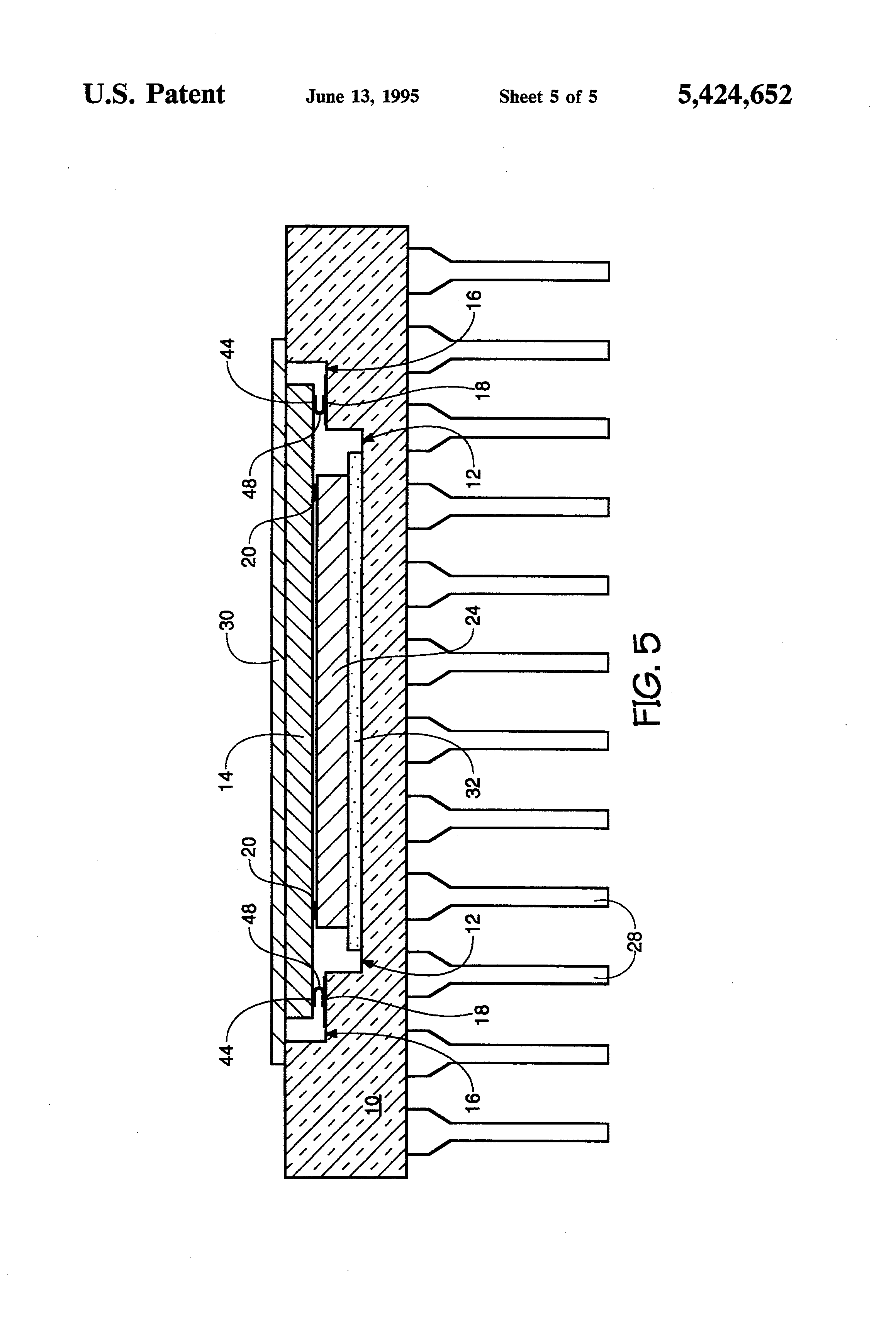 patent us5424652 - method and apparatus for testing an unpackaged semiconductor die