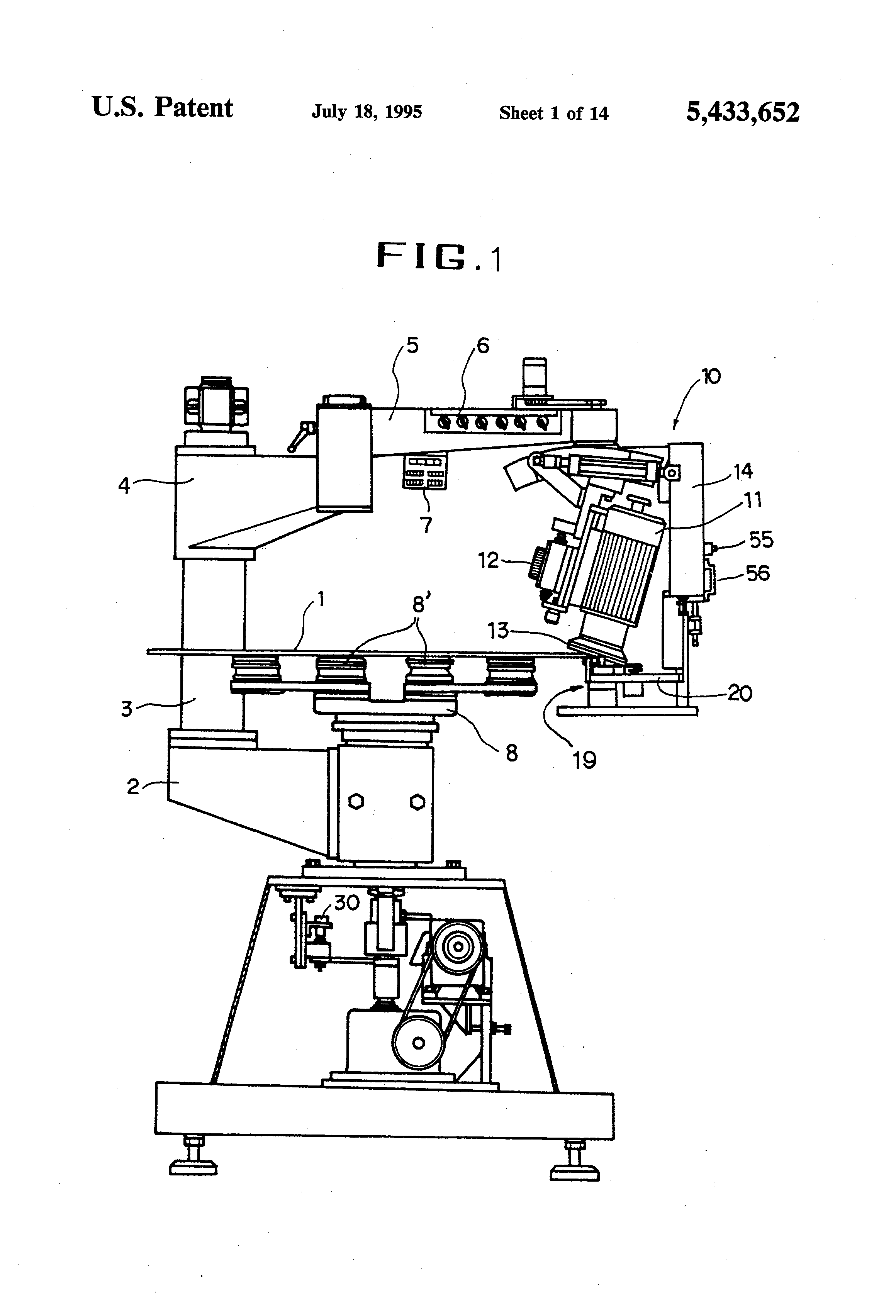 Patent Us5433652 Glass Sheet Partial Chamfering Machine