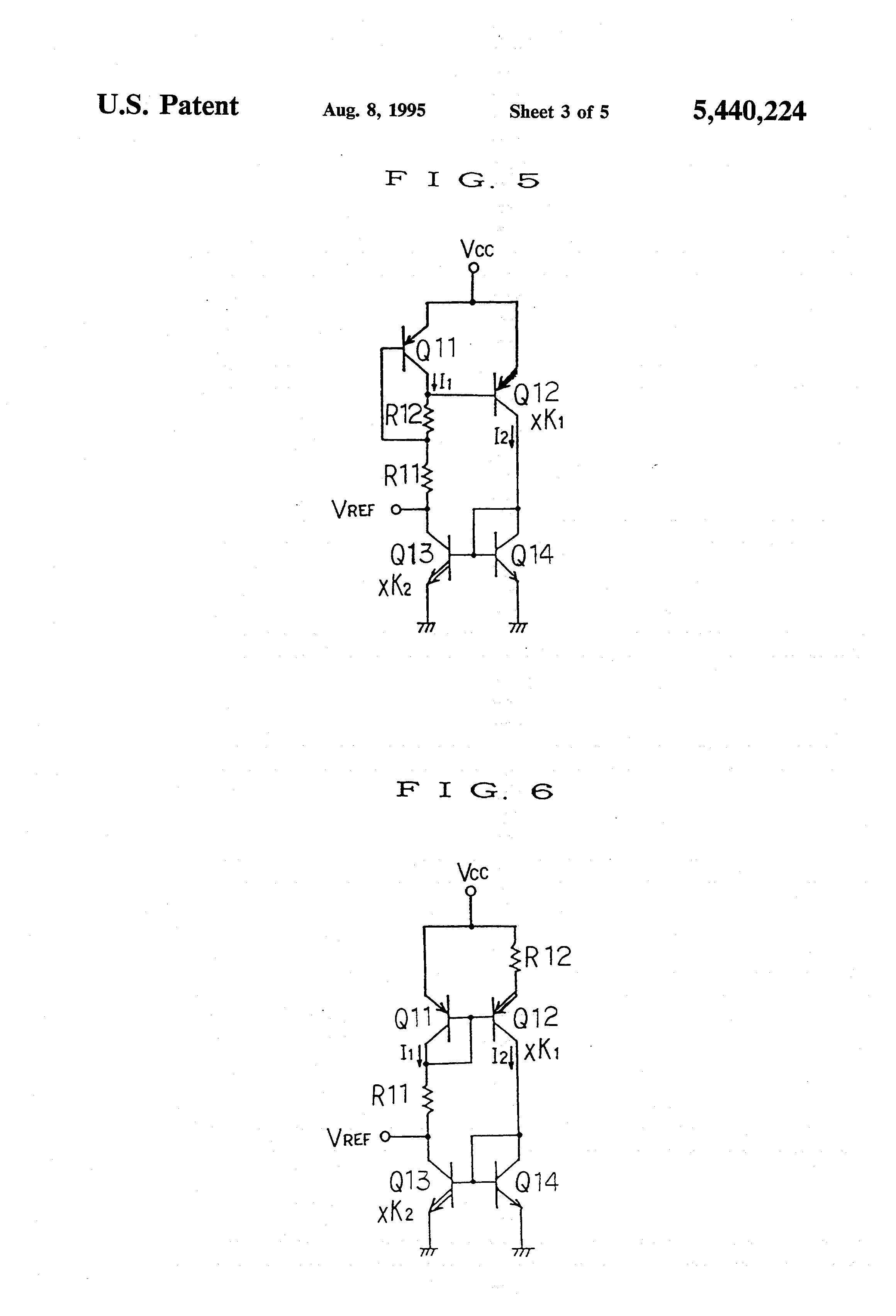 Patent Us5440224 Reference Voltage Generating Circuit Formed Of The Current Is Determined By Formula Out V Vref R2 Drawing
