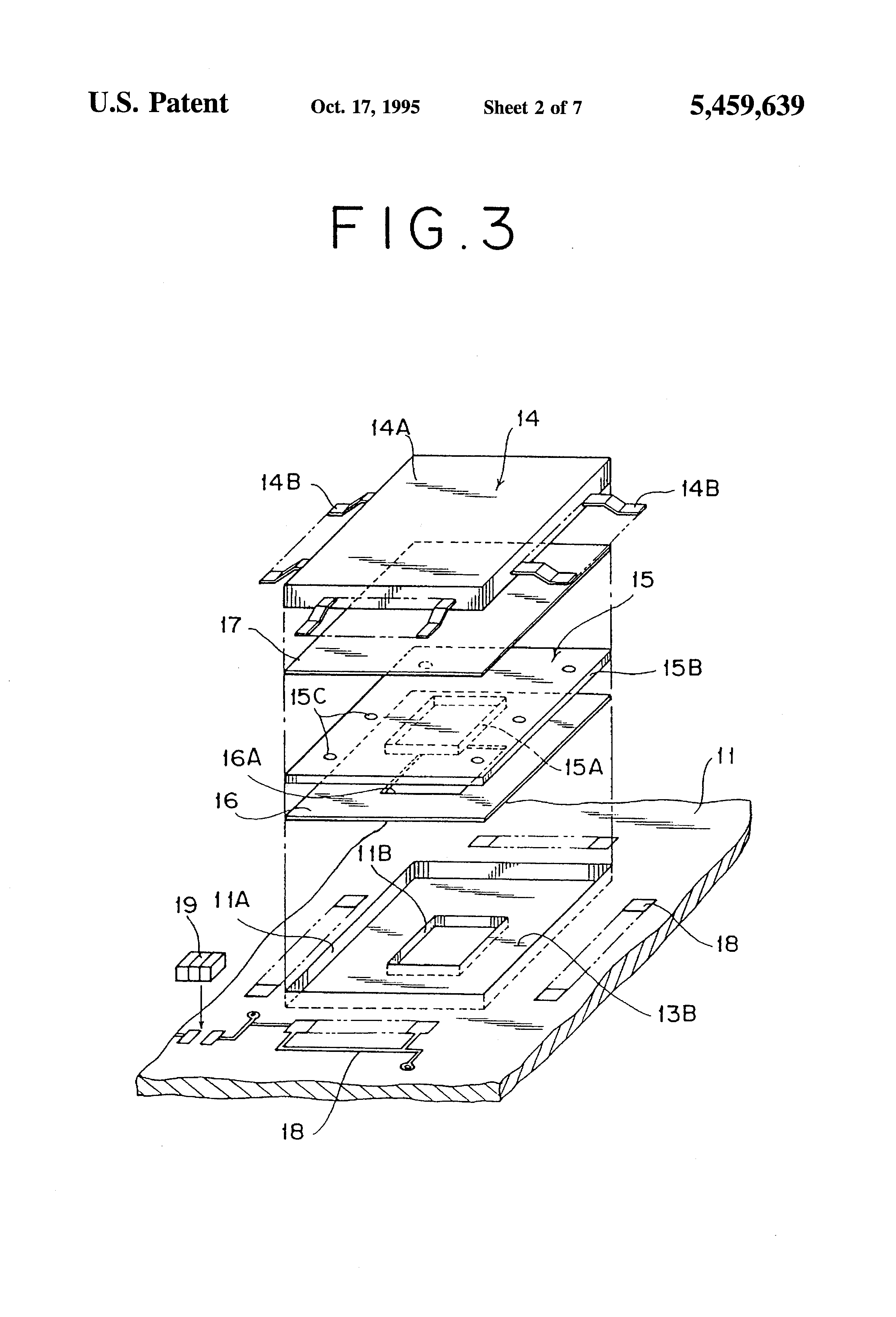 patent us5459639 - printed circuit board assembly having high heat radiation property