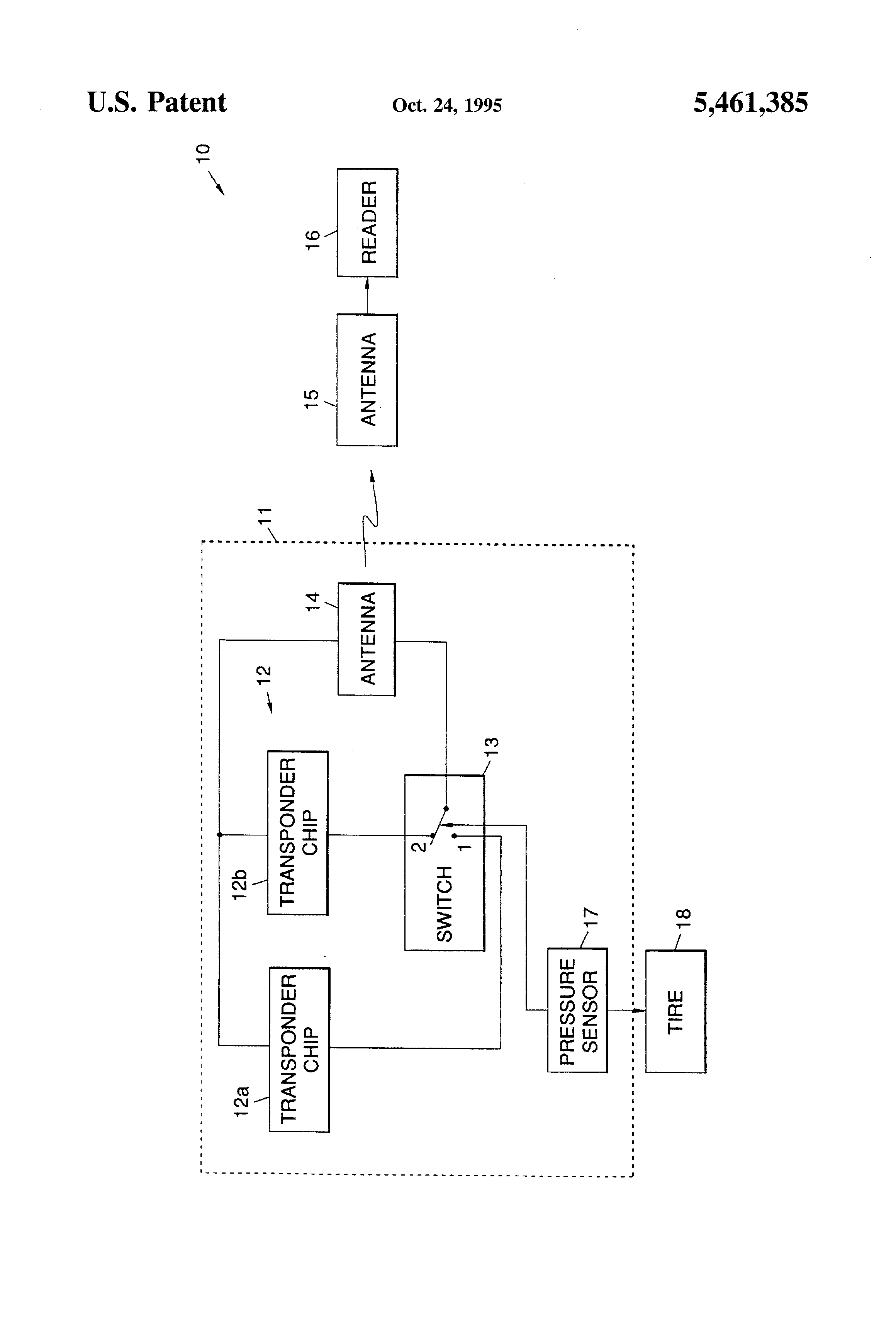 patent us5461385  id transponder system employing