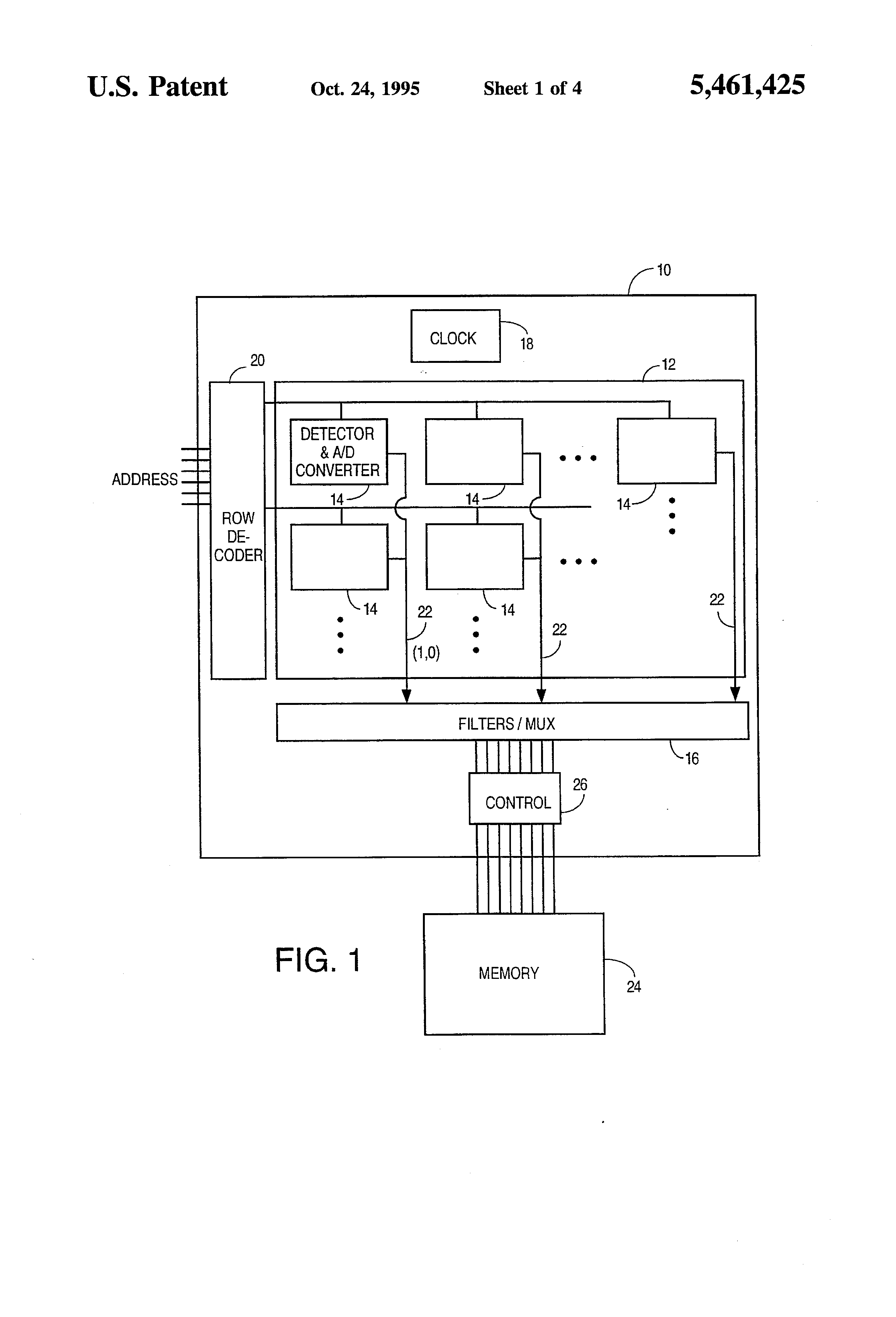 Patente Us5461425 Cmos Image Sensor With Pixel Level A D Block Diagram Of The Silicon Video Mux Patent Drawing