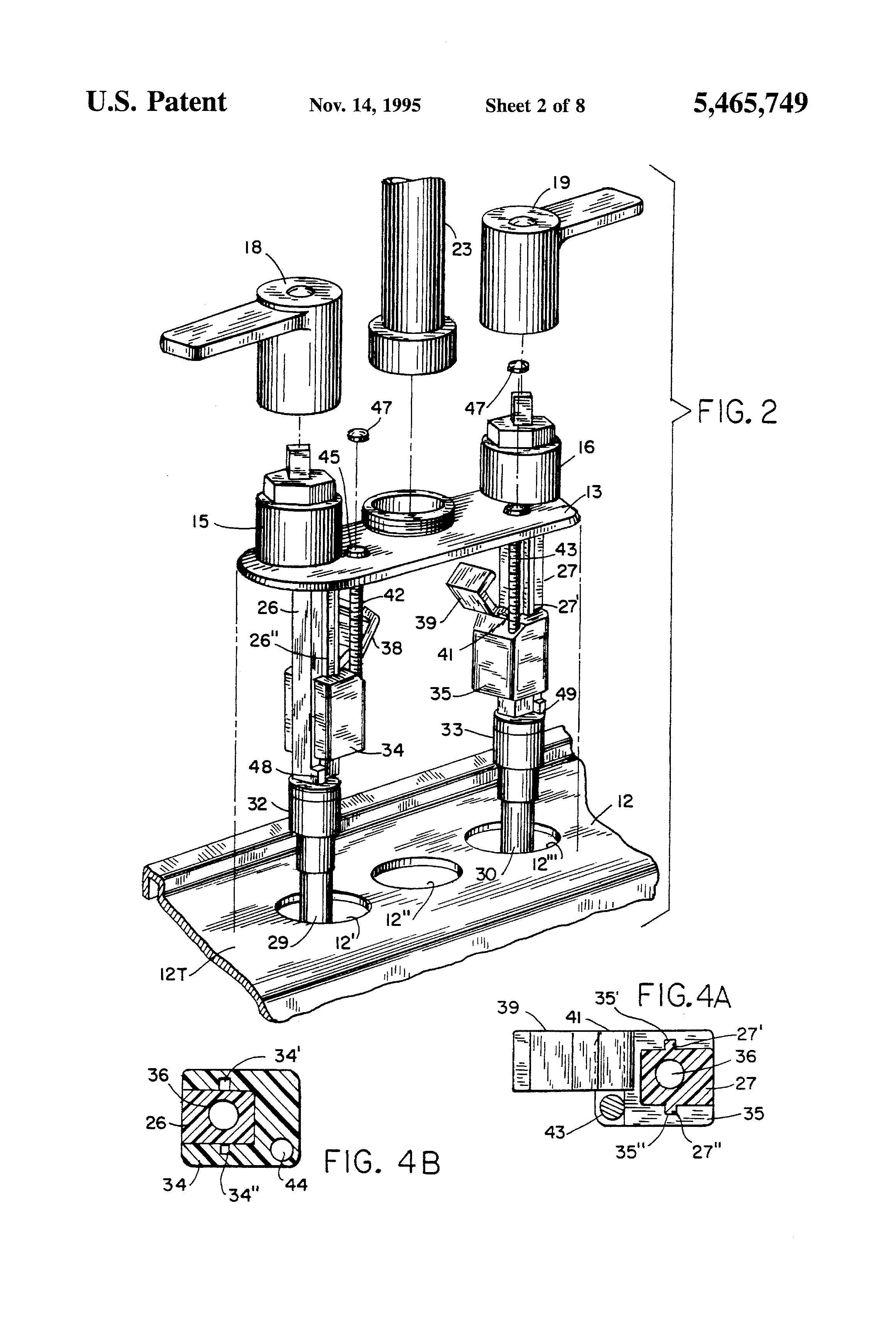 patente us5465749 top mounting faucet assembly patentes Nos Parts patent drawing