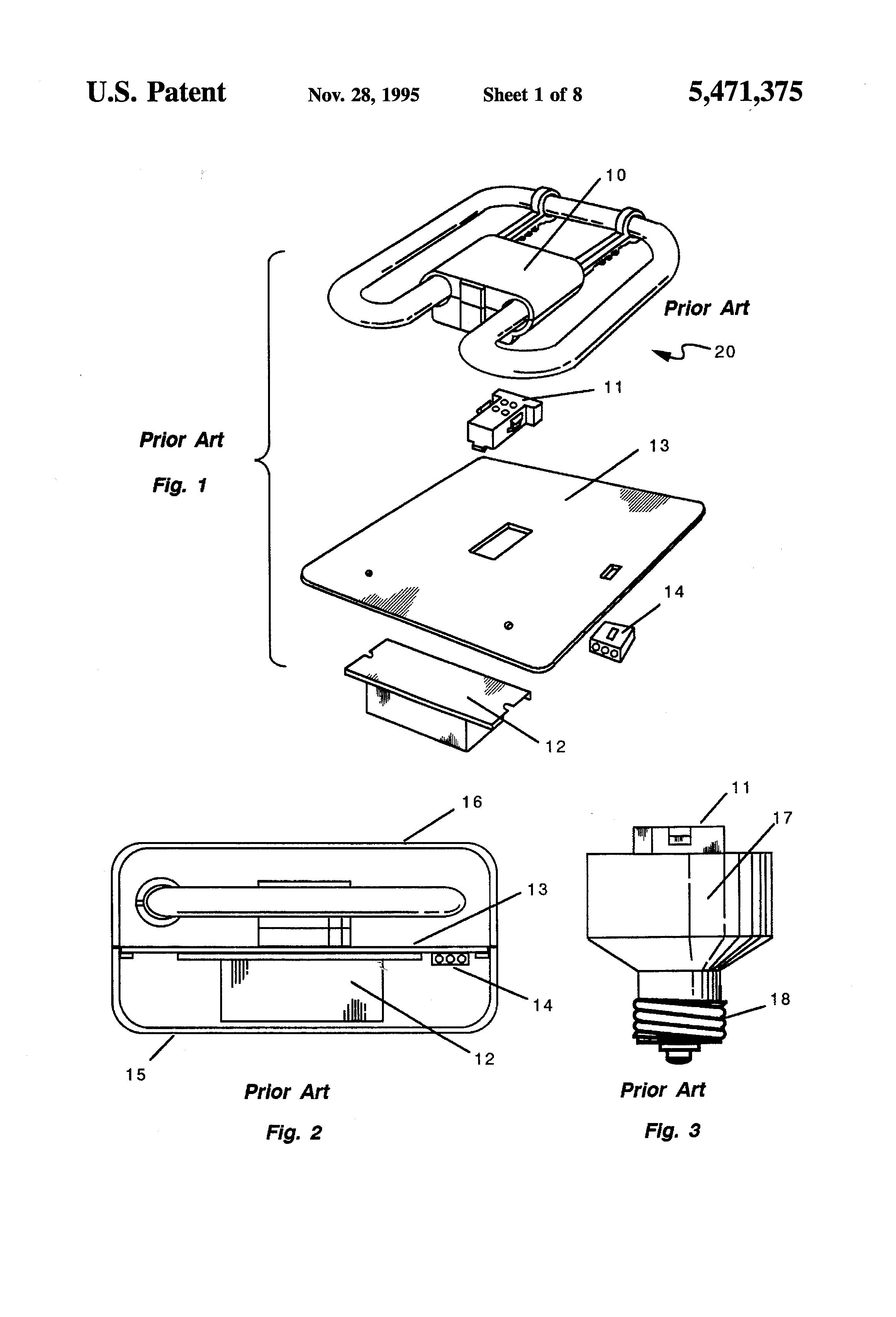 patent us5471375 fluorescent light ballast l mounting socket Fluorescent Lamp Wiring Diagram patent drawing