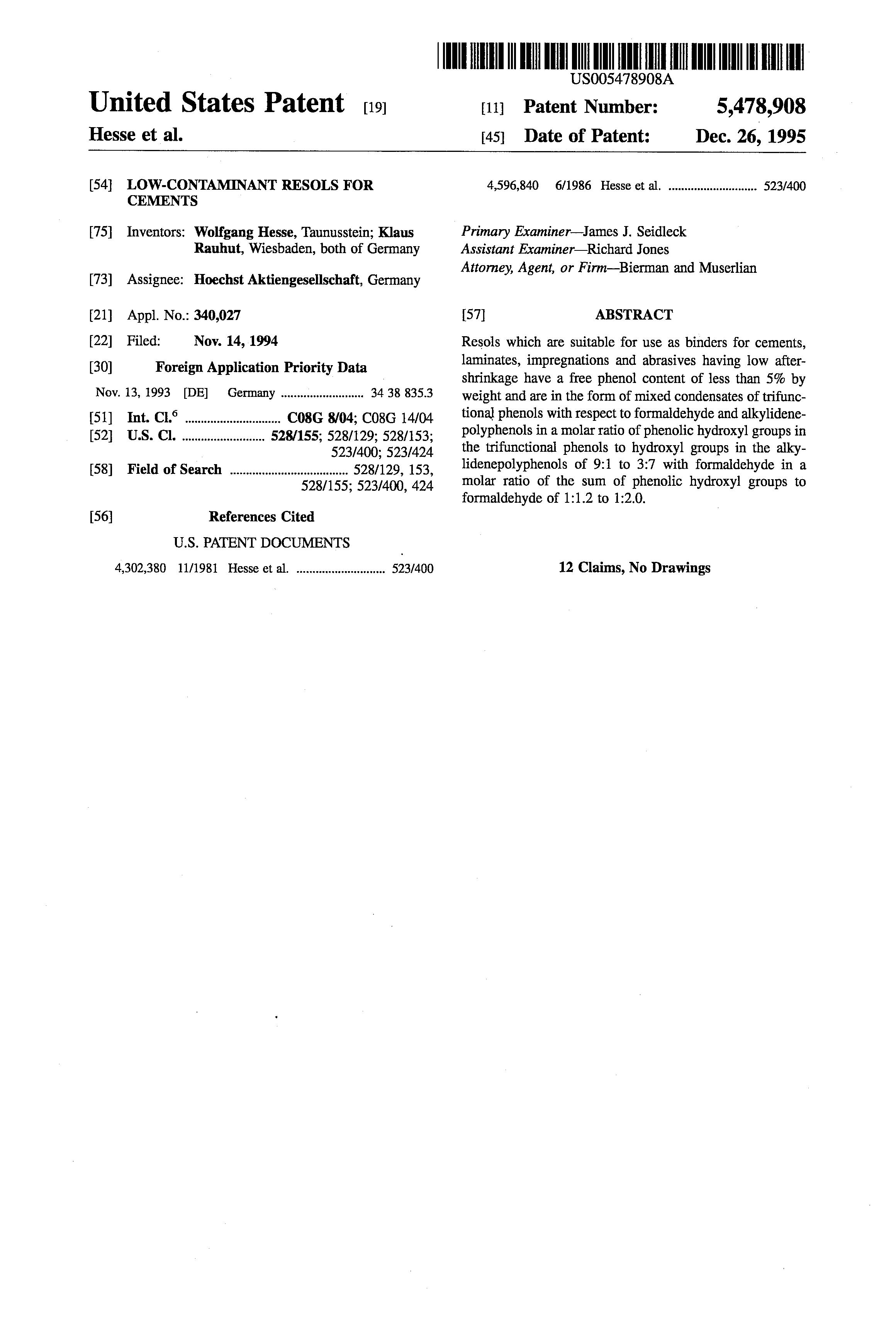 براءة الاختراع us low contaminant resols for cements  patent drawing