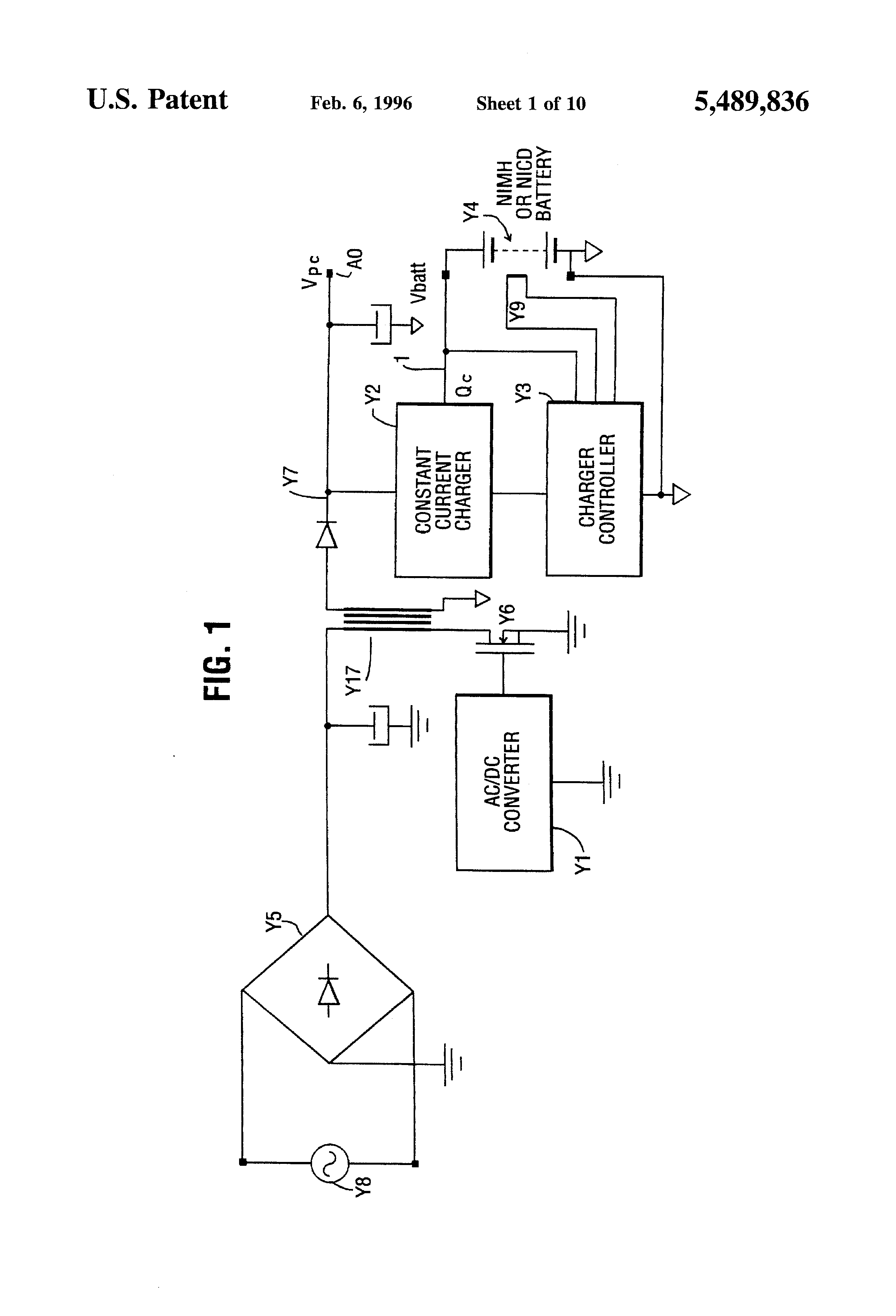 patent us5489836 - battery charging circuit for charging nimh and nicd batteries